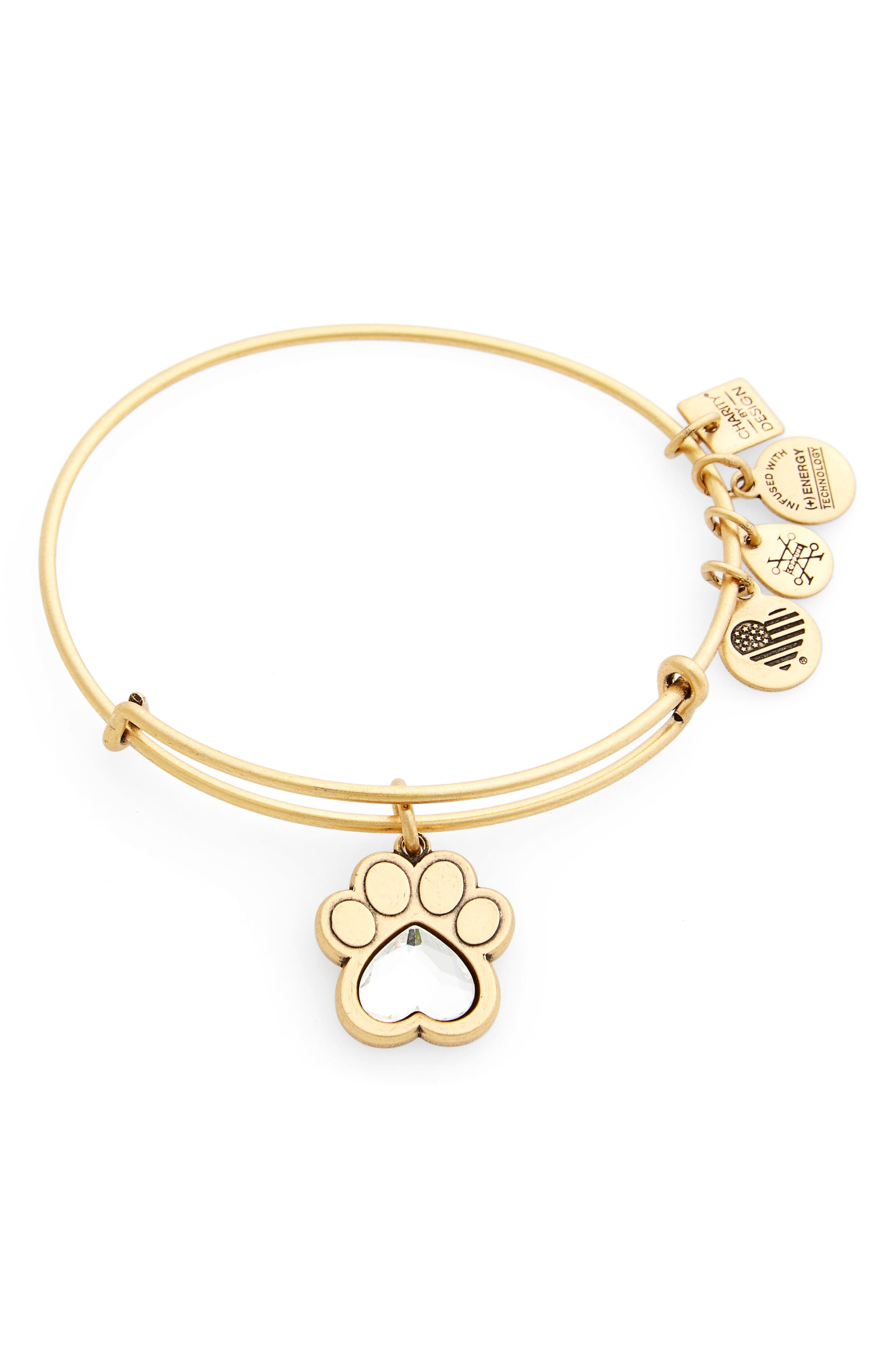 Prints of Love Adjustable Wire Bangle,                             Main thumbnail 1, color,                             Gold
