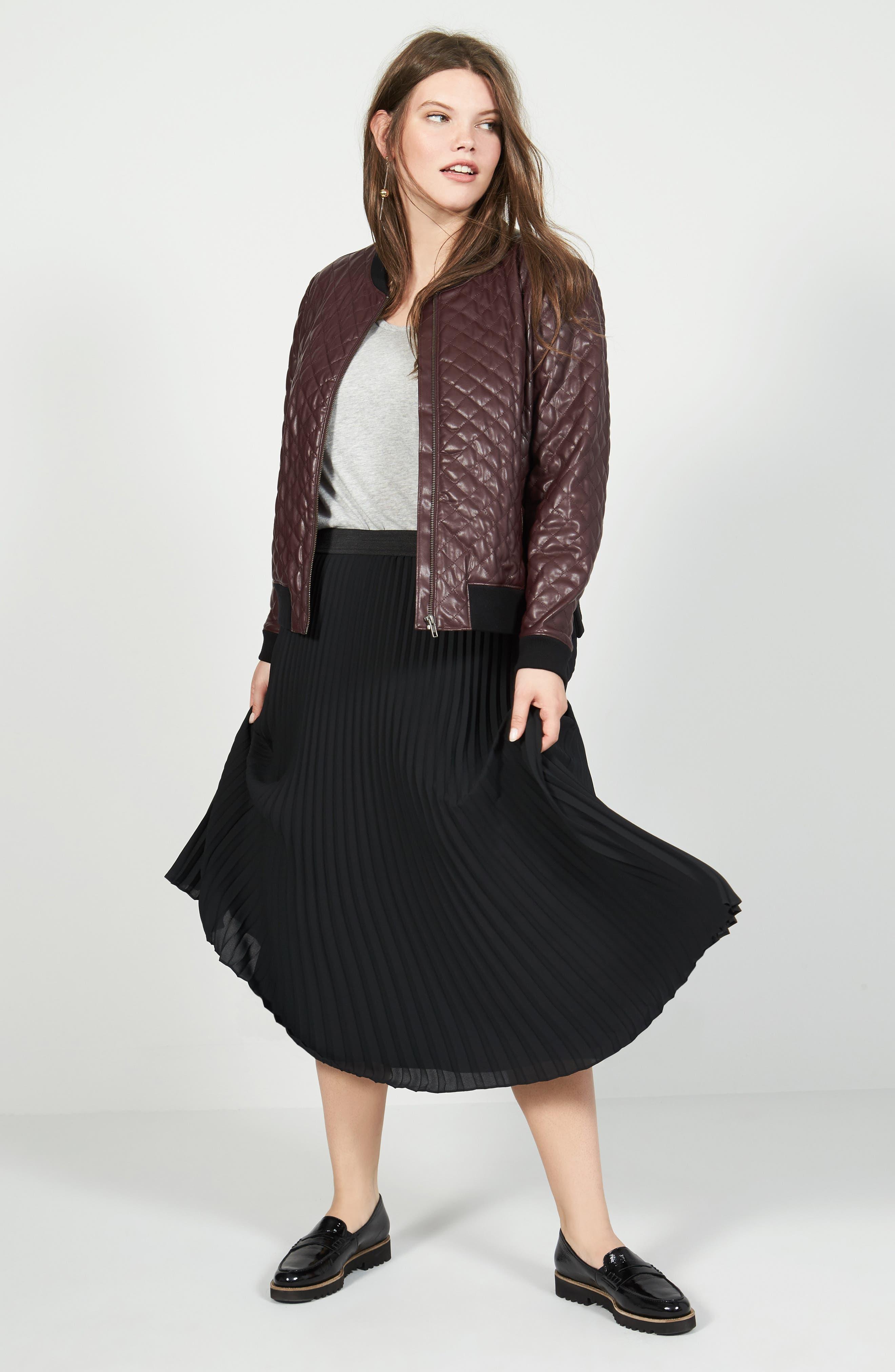 Alternate Image 2  - Sejour Pleated Midi Skirt (Plus Size)