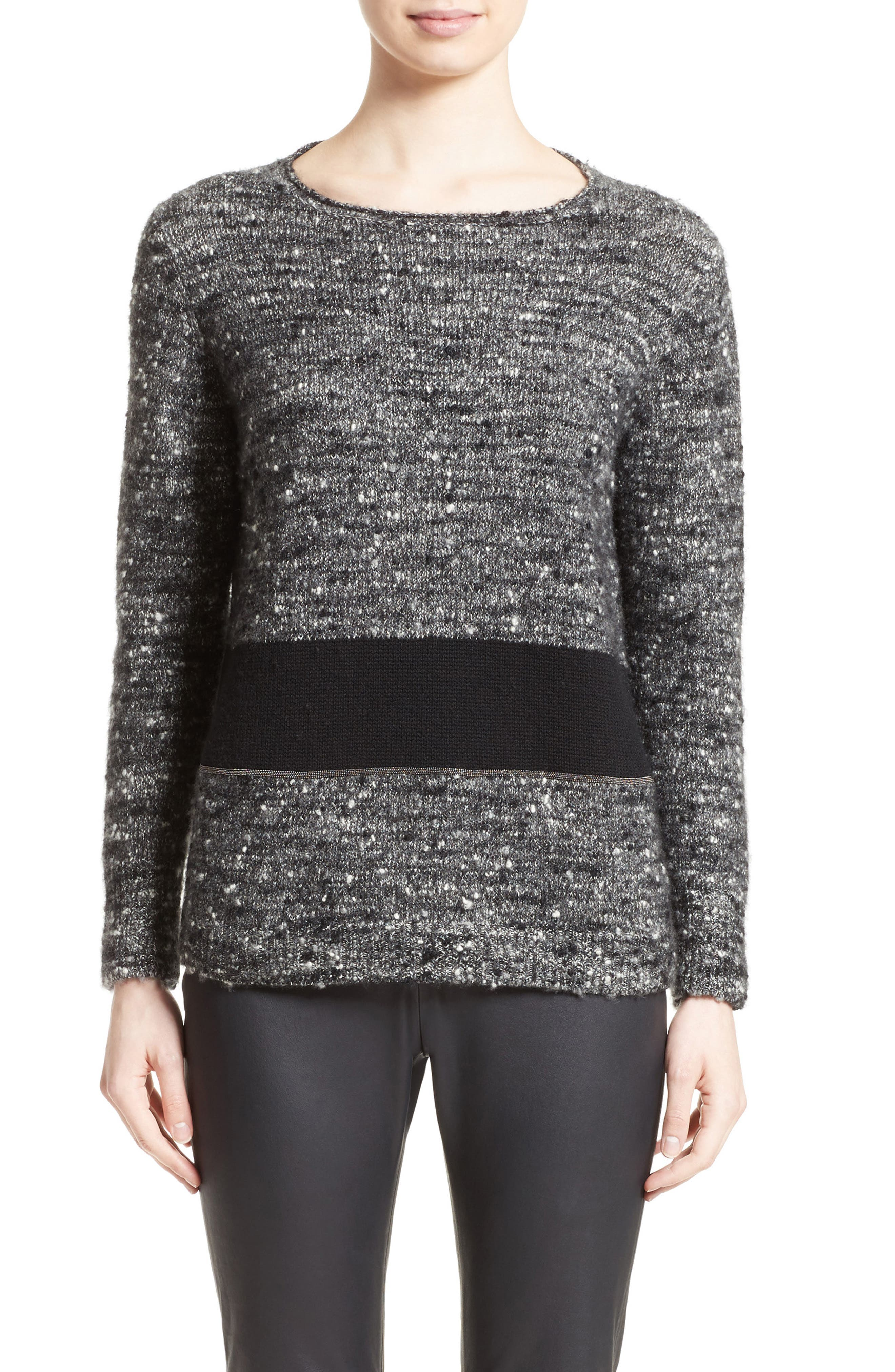 Cashmere & Silk Blend Tweed Pullover,                         Main,                         color, Grey Multi