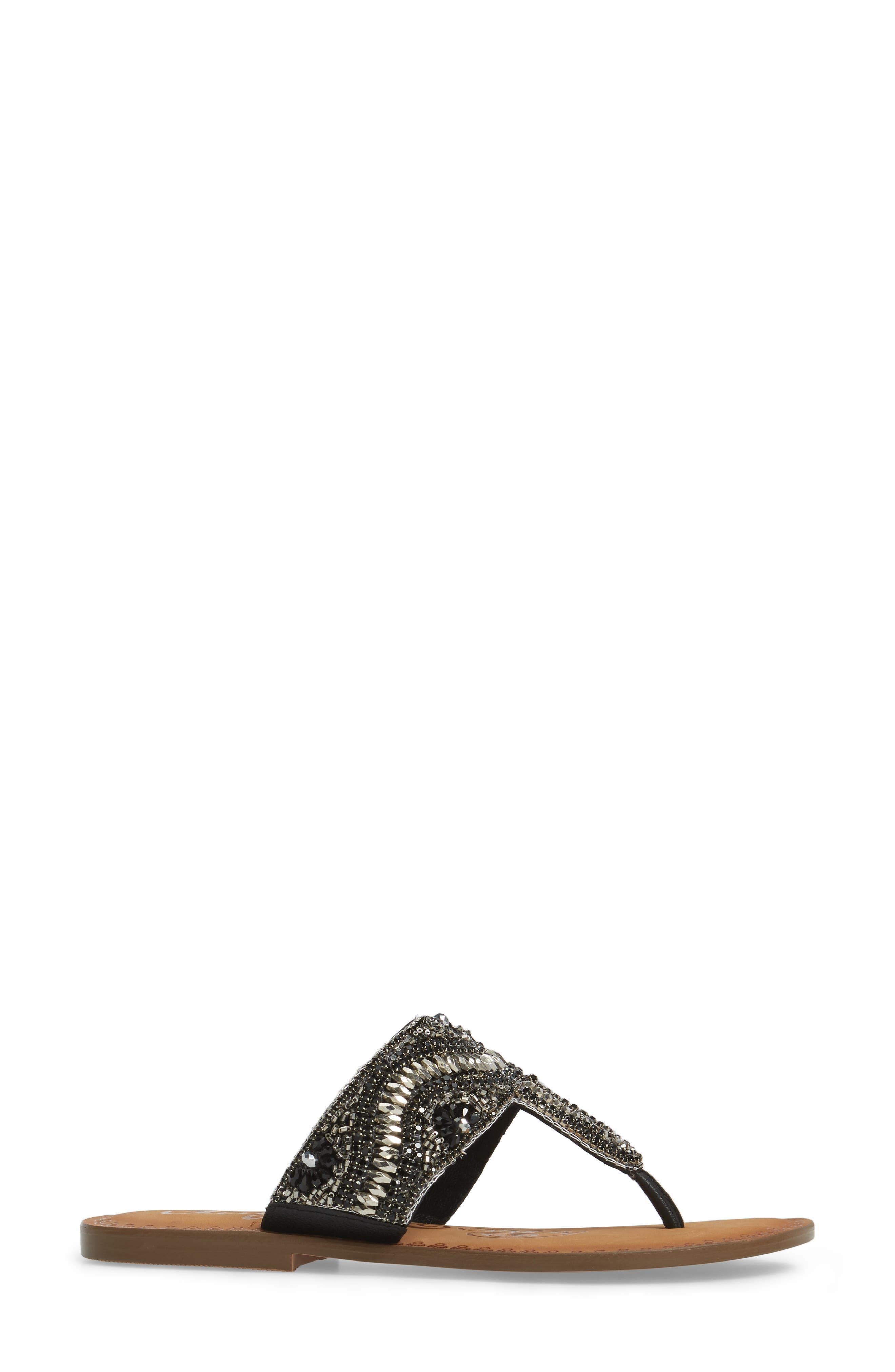 Lizabeth Embellished Sandal,                             Alternate thumbnail 3, color,                             Black Leather