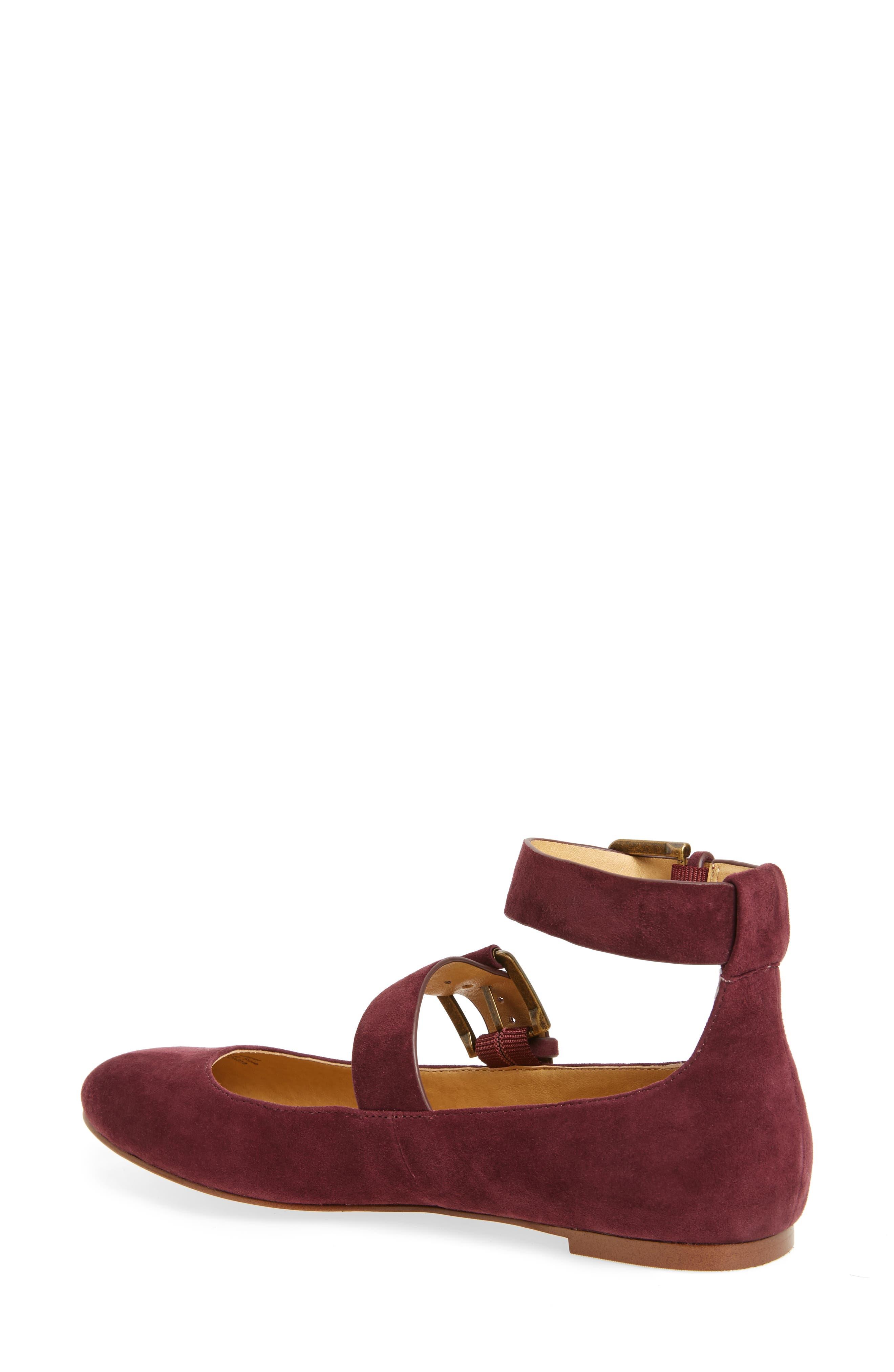 Dalenna Ankle Strap Ballet Flat,                             Alternate thumbnail 2, color,                             Wine Suede