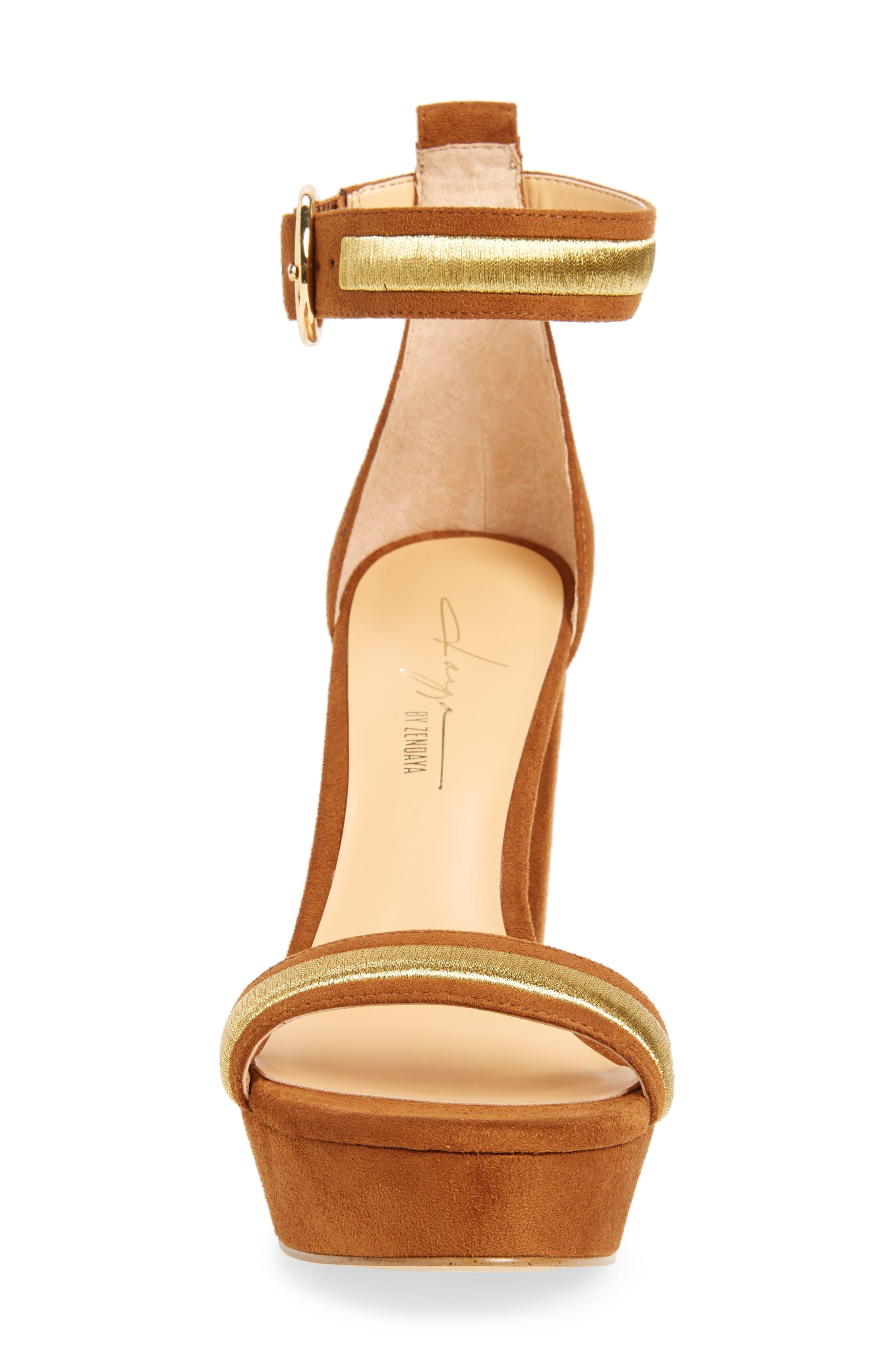 by Zendaya Norah Tall Platform Sandal,                             Alternate thumbnail 4, color,                             Whiskey