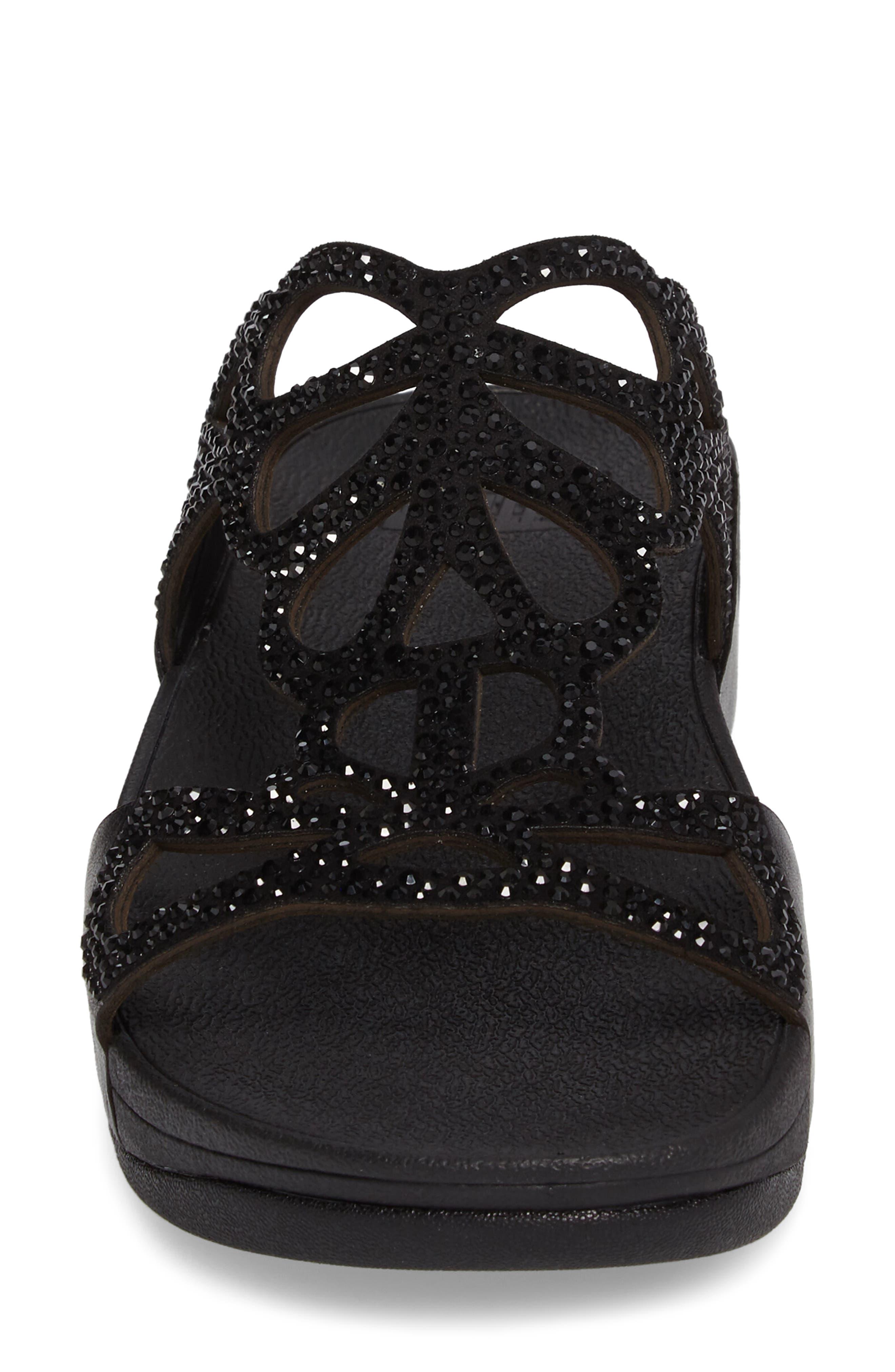 Bumble Wedge Slide Sandal,                             Alternate thumbnail 4, color,                             Black Leather