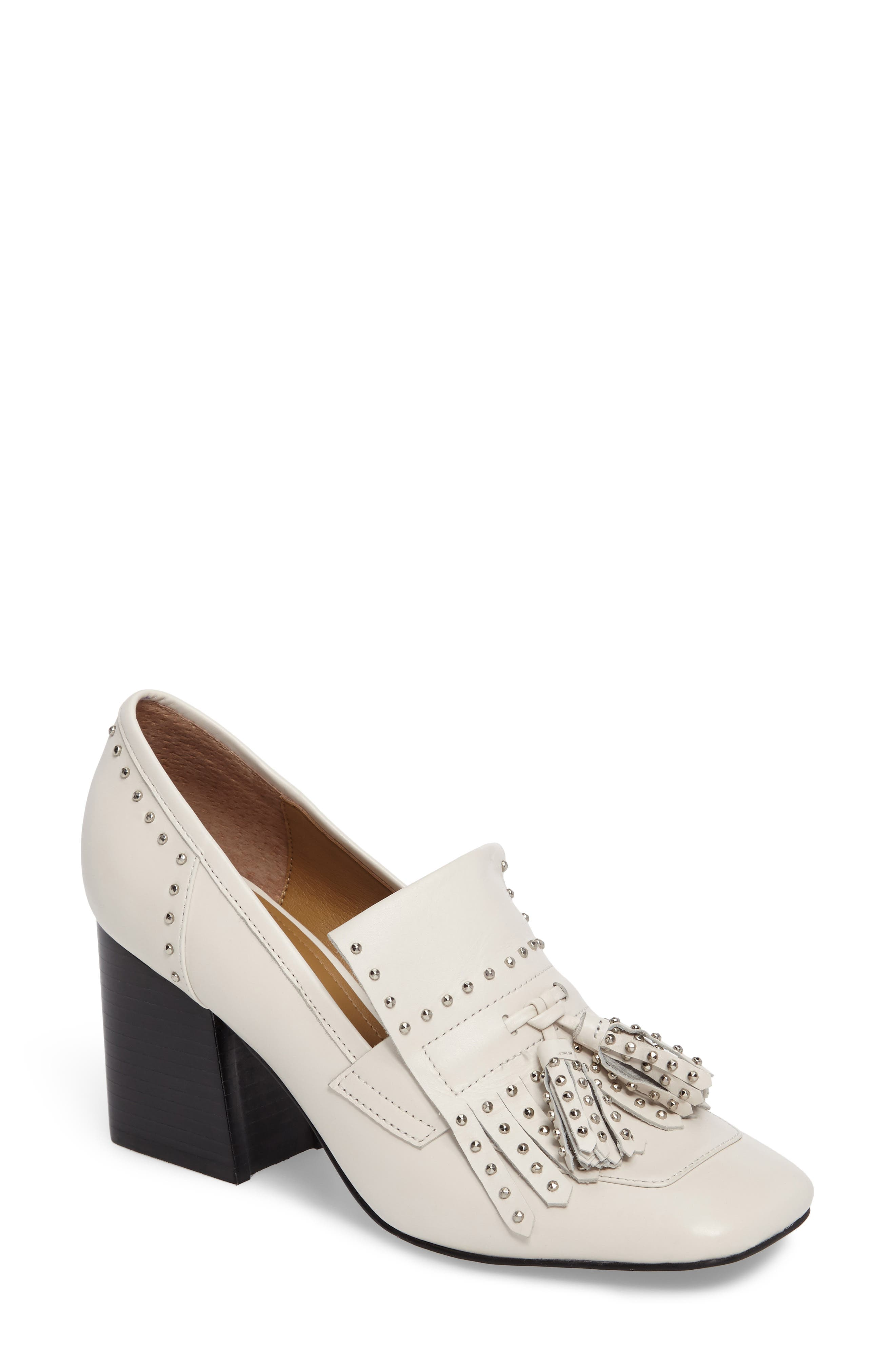 Mellie Fringe Pump,                         Main,                         color, Ivory Leather