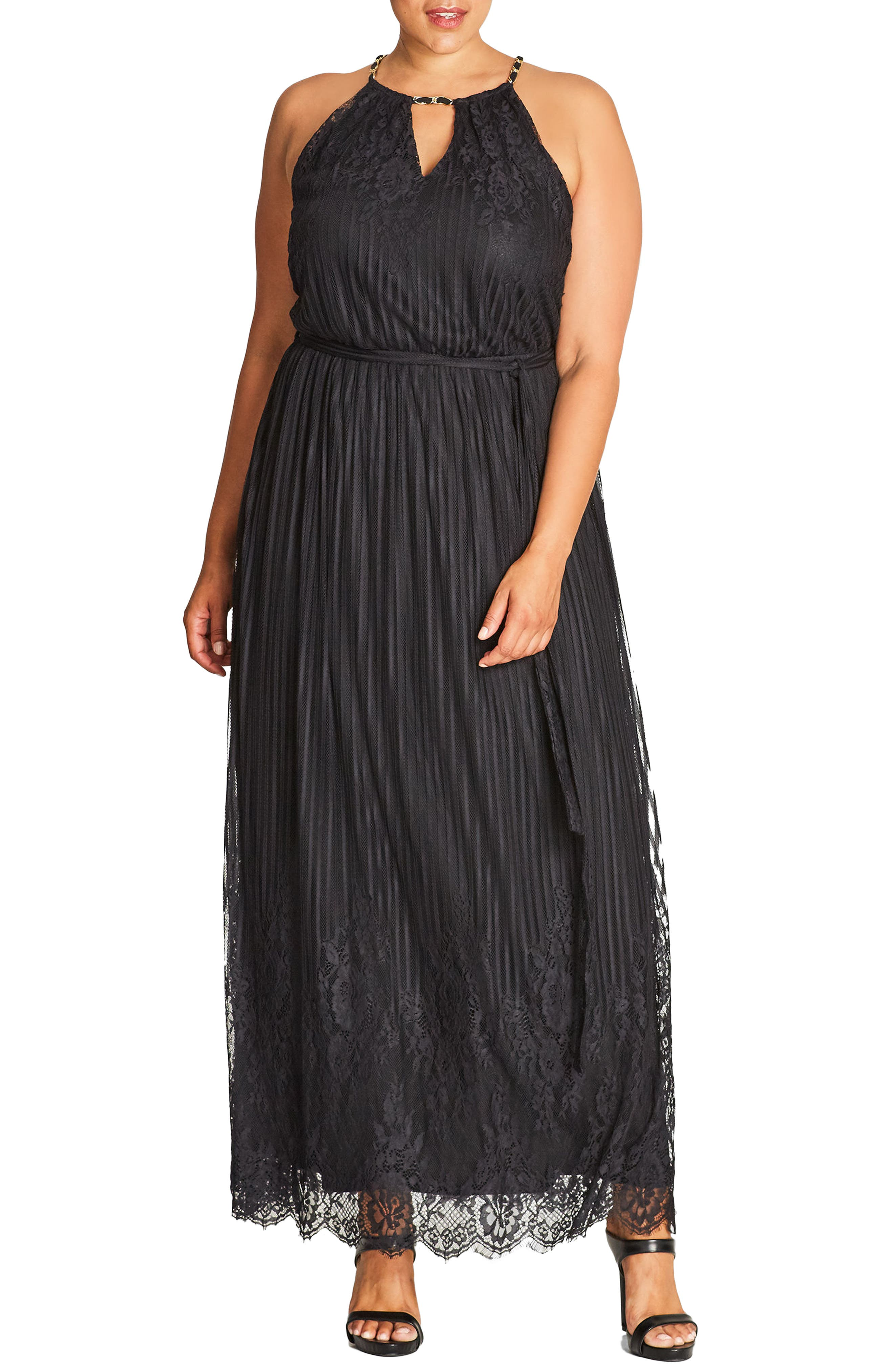Studio 54 Stripe Lace Maxi Dress,                         Main,                         color, Black