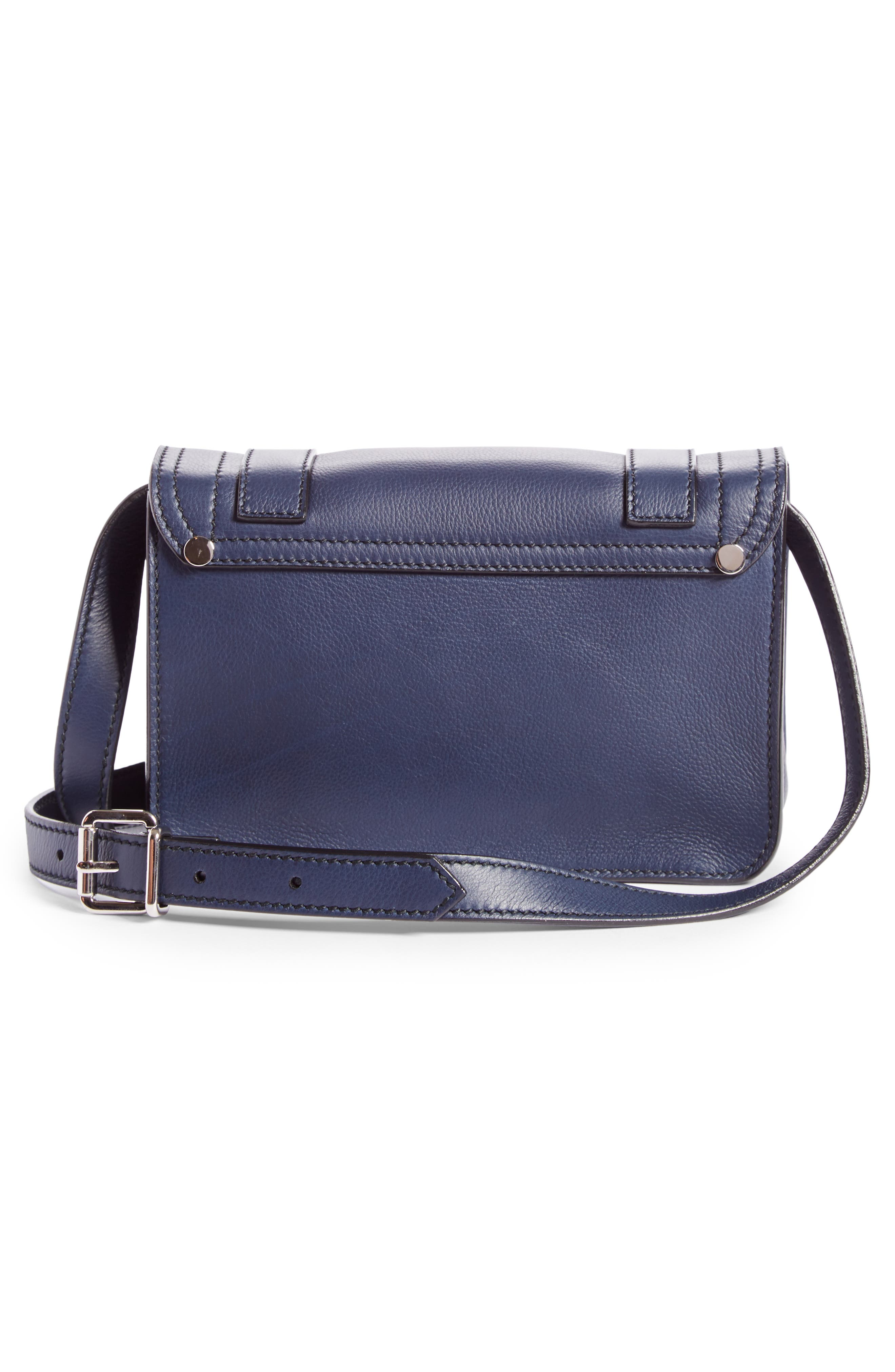 Mini PS1 Leather Crossbody Bag,                             Alternate thumbnail 3, color,                             Indigo