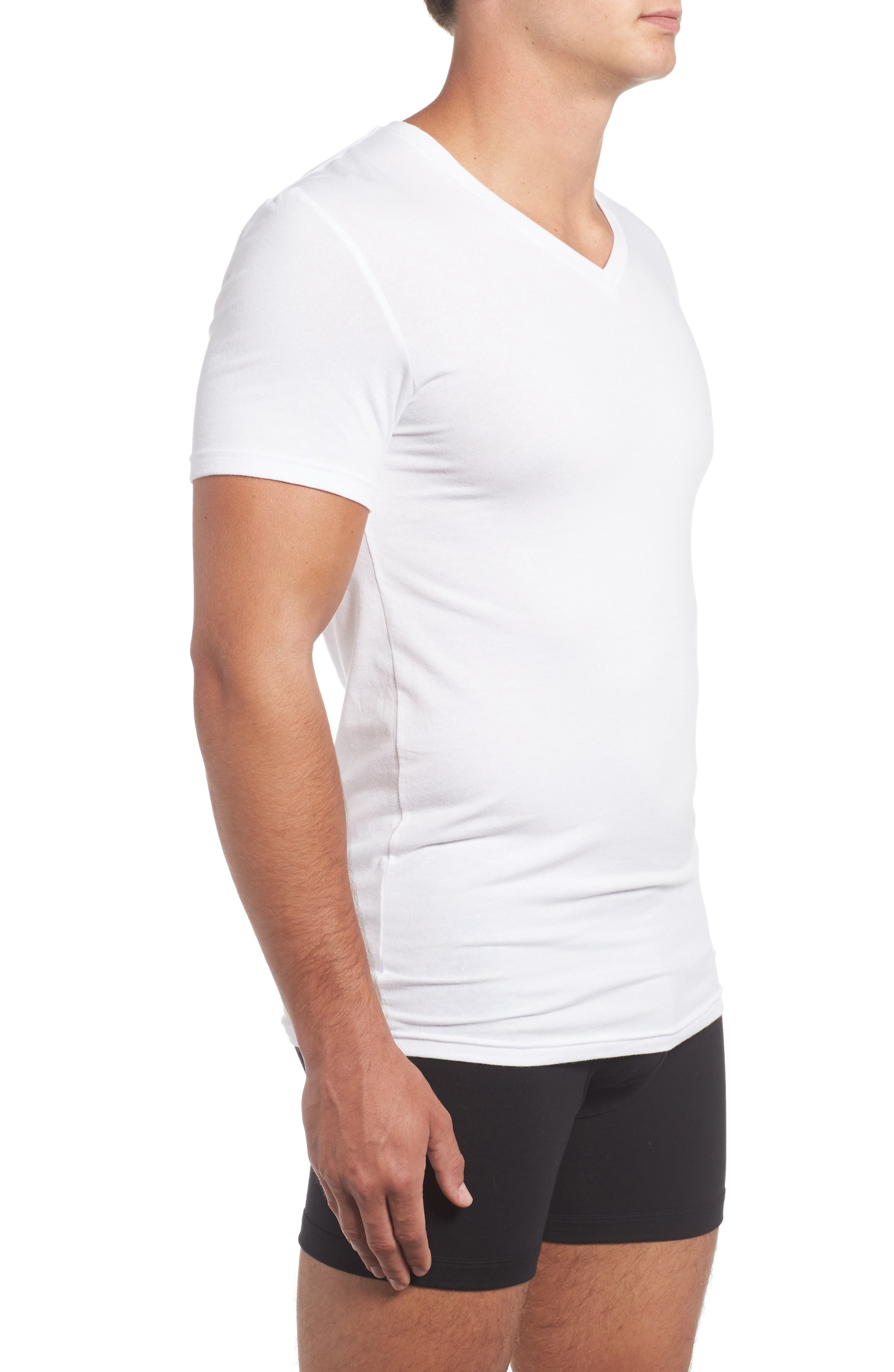Trim Fit 3-Pack Stretch Cotton V-Neck T-Shirt,                             Alternate thumbnail 4, color,                             White