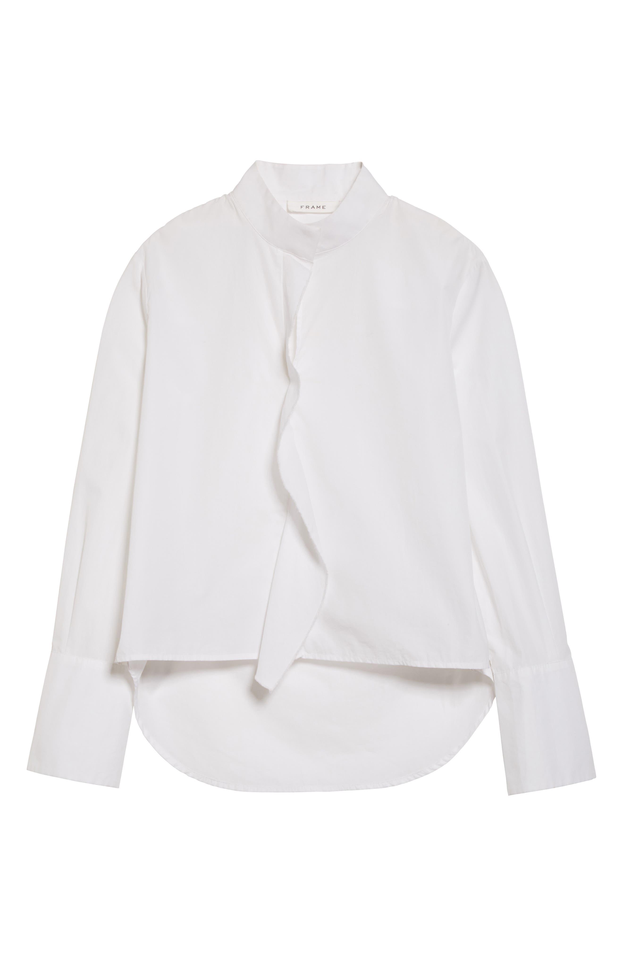 Cravat Poplin Blouse,                             Alternate thumbnail 7, color,                             Blanc