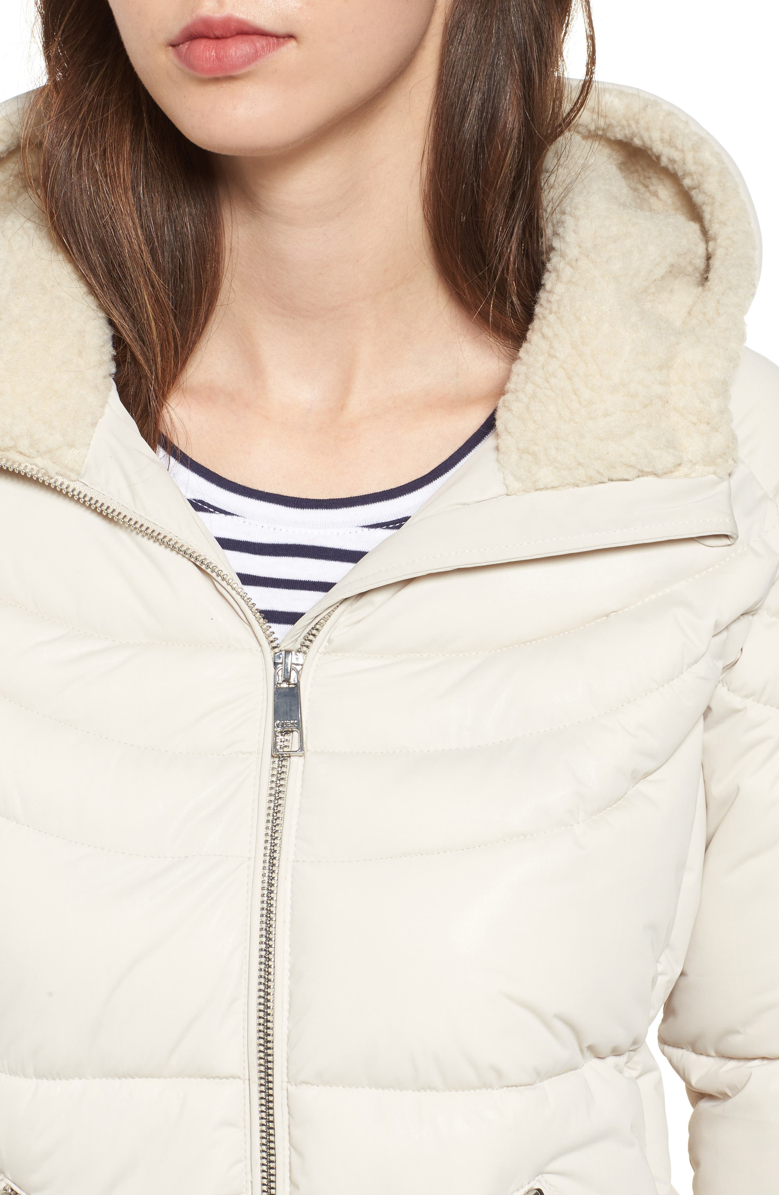 Alternate Image 4  - GUESS Oversize Hooded Puffer Jacket with Knit & Faux Shearling Trim