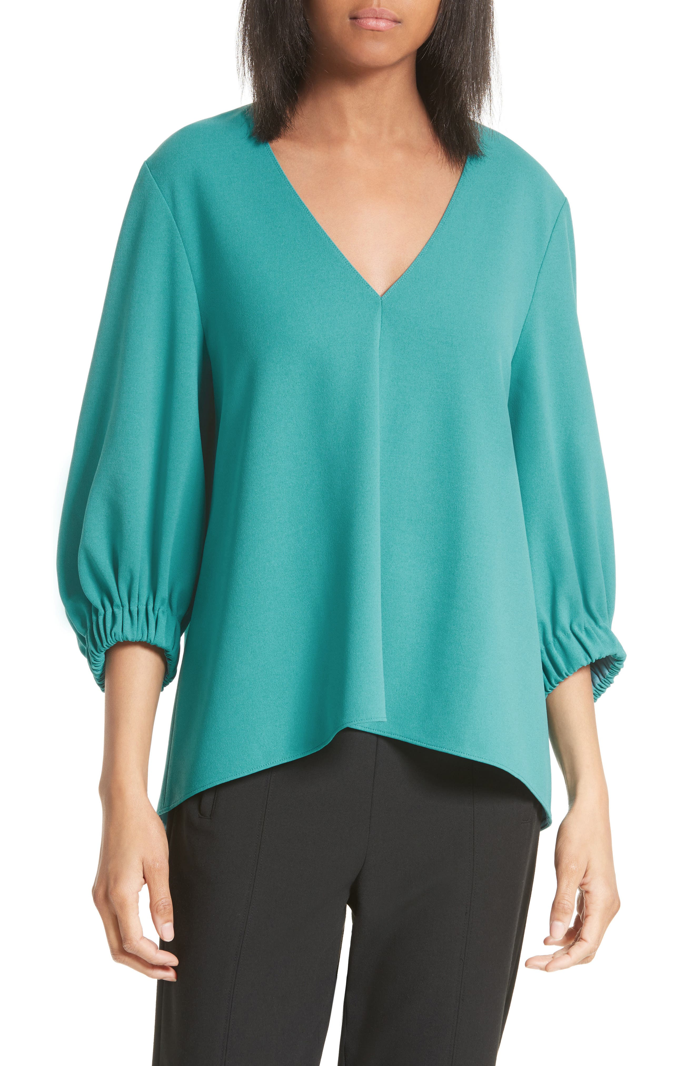 Stretch Crepe Trapeze Top,                         Main,                         color, Cypella Teal