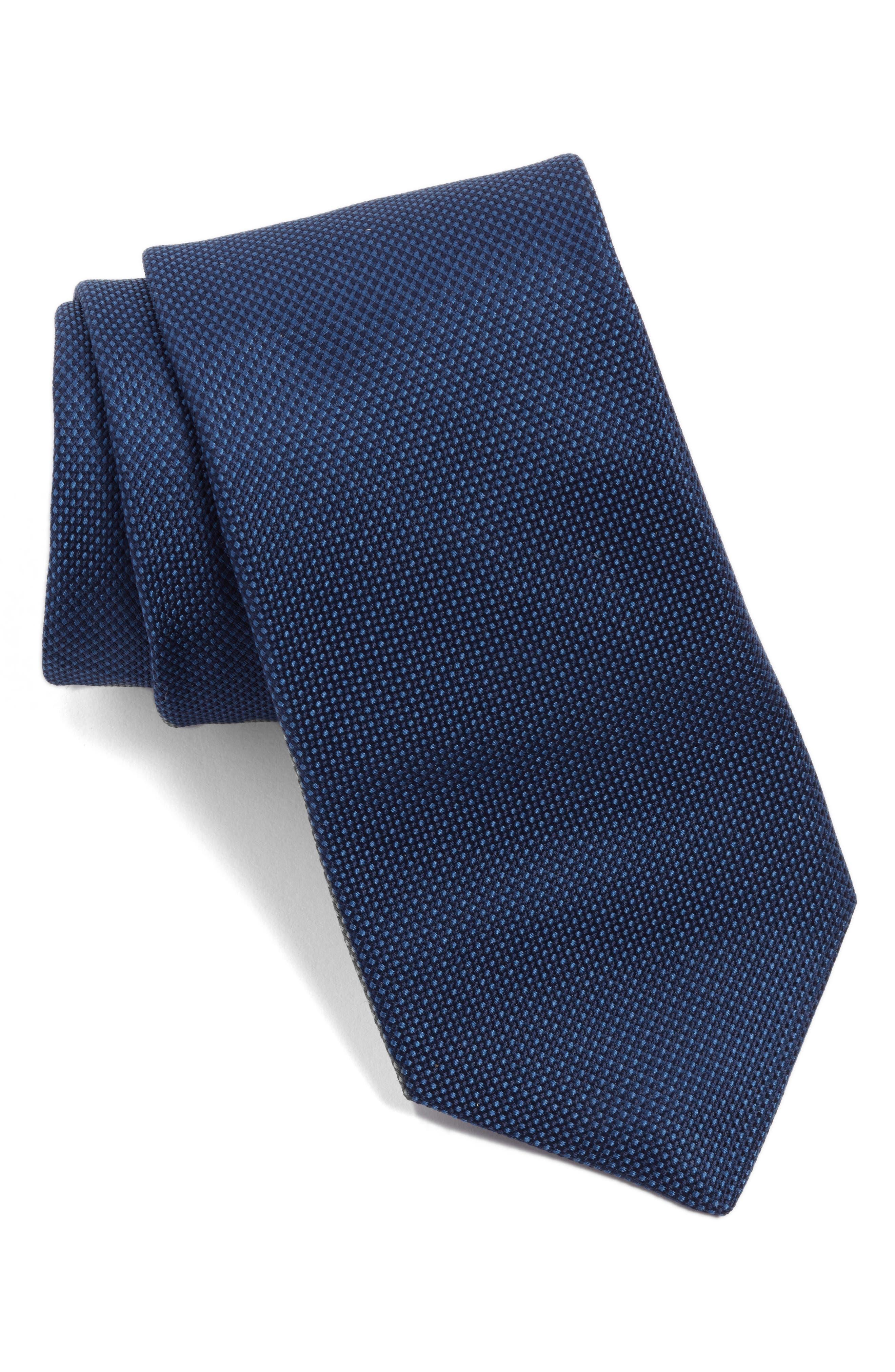 Solid Silk Tie,                         Main,                         color, Navy