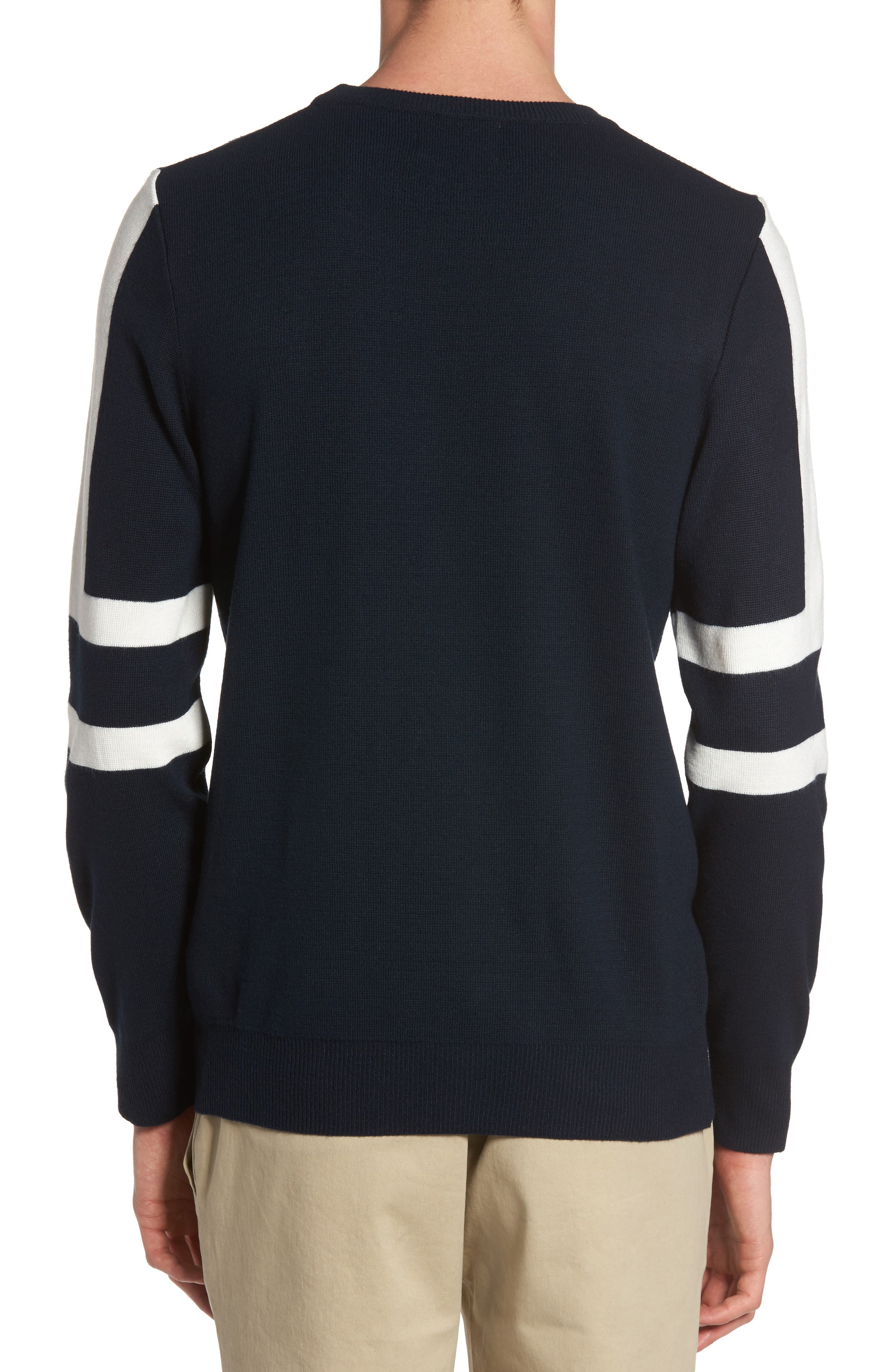 Slim Fit Sport Stripe Sweater,                             Alternate thumbnail 2, color,                             Navy Multi