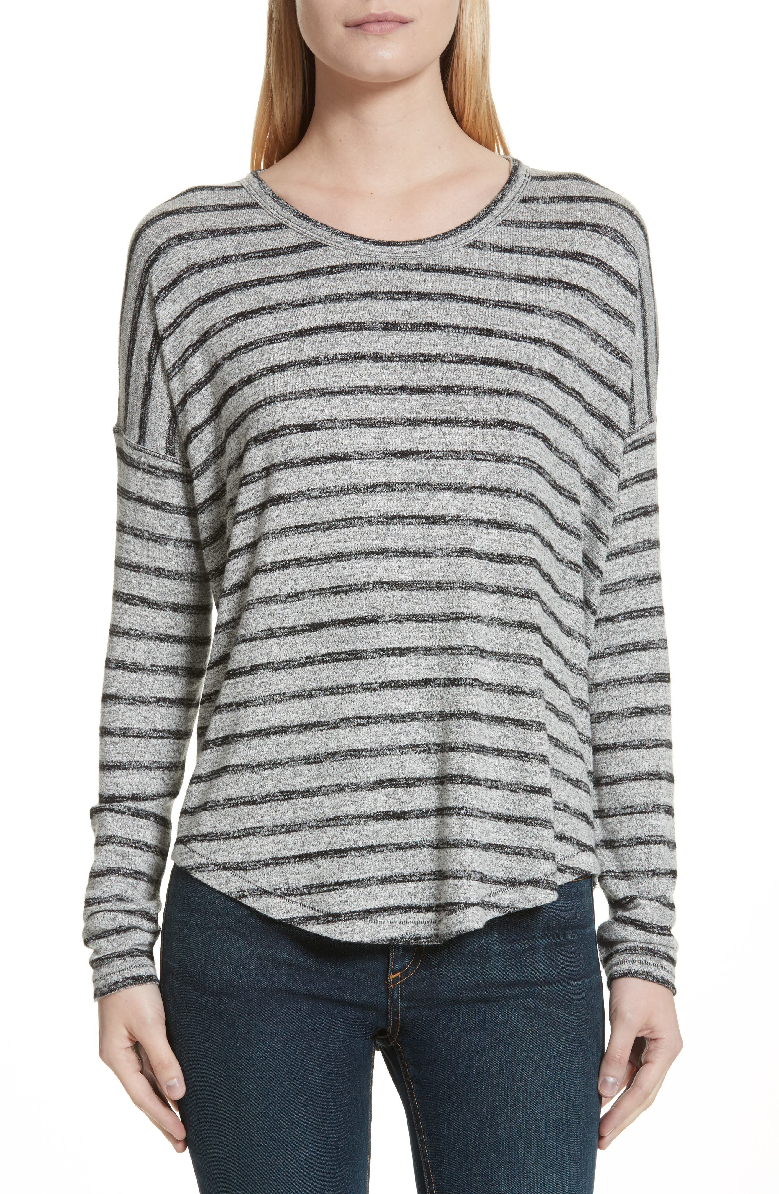 Hudson Stripe Top,                         Main,                         color, Heather Grey/ Black