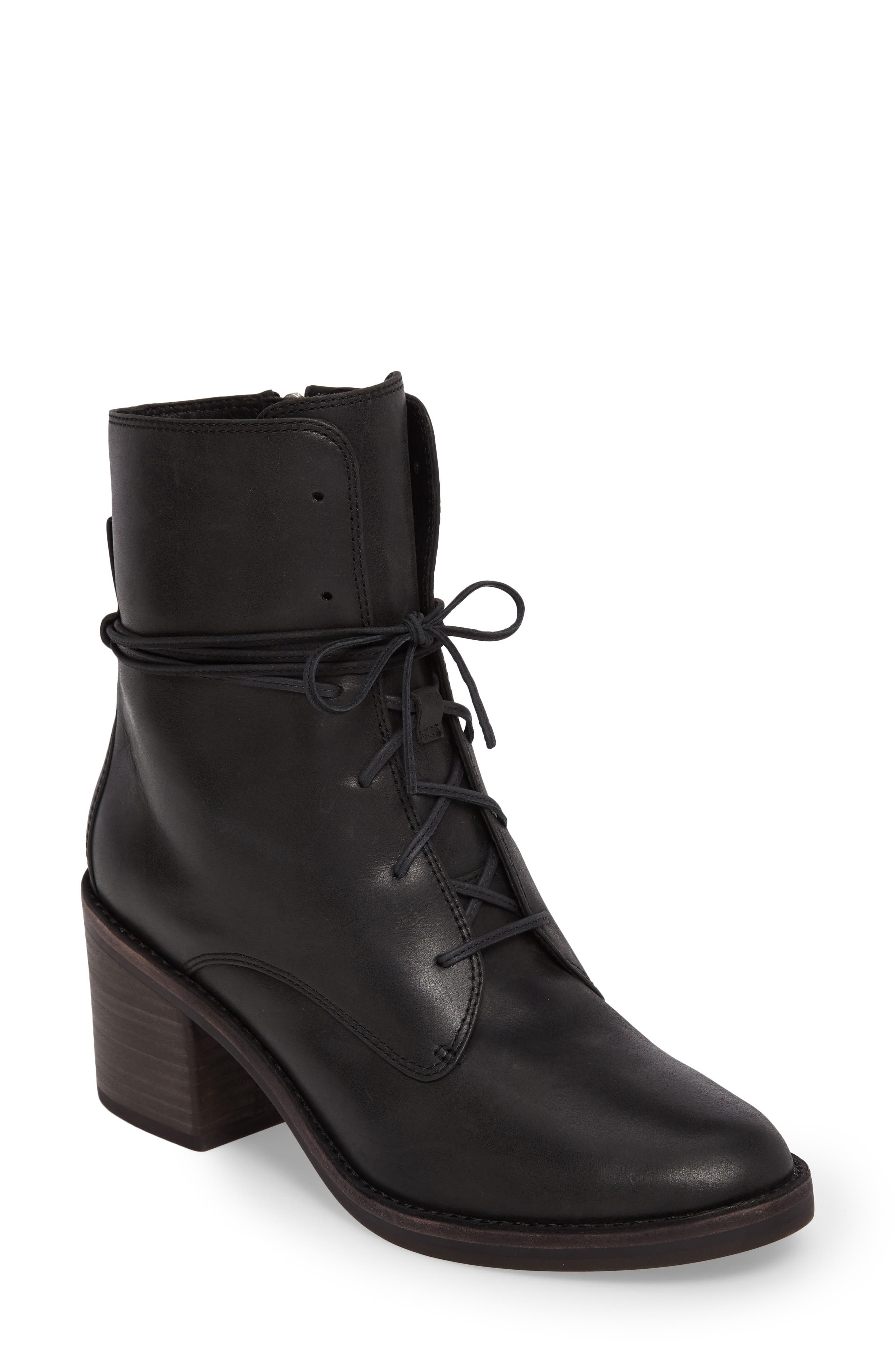 Oriana Lace-Up Boot,                         Main,                         color, Black Leather