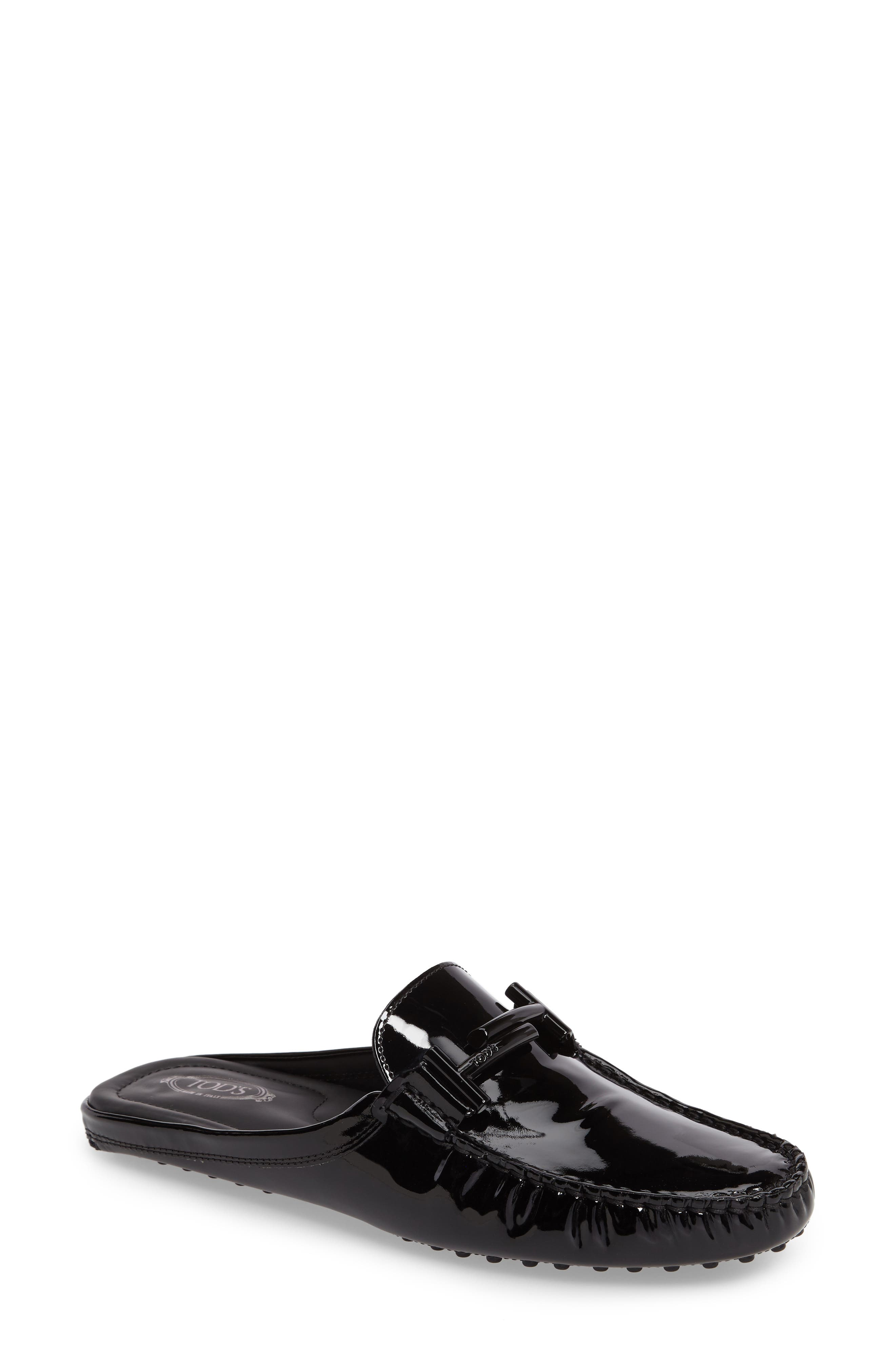 Gommino Double-T Loafer Mule,                             Main thumbnail 1, color,                             Black Patent