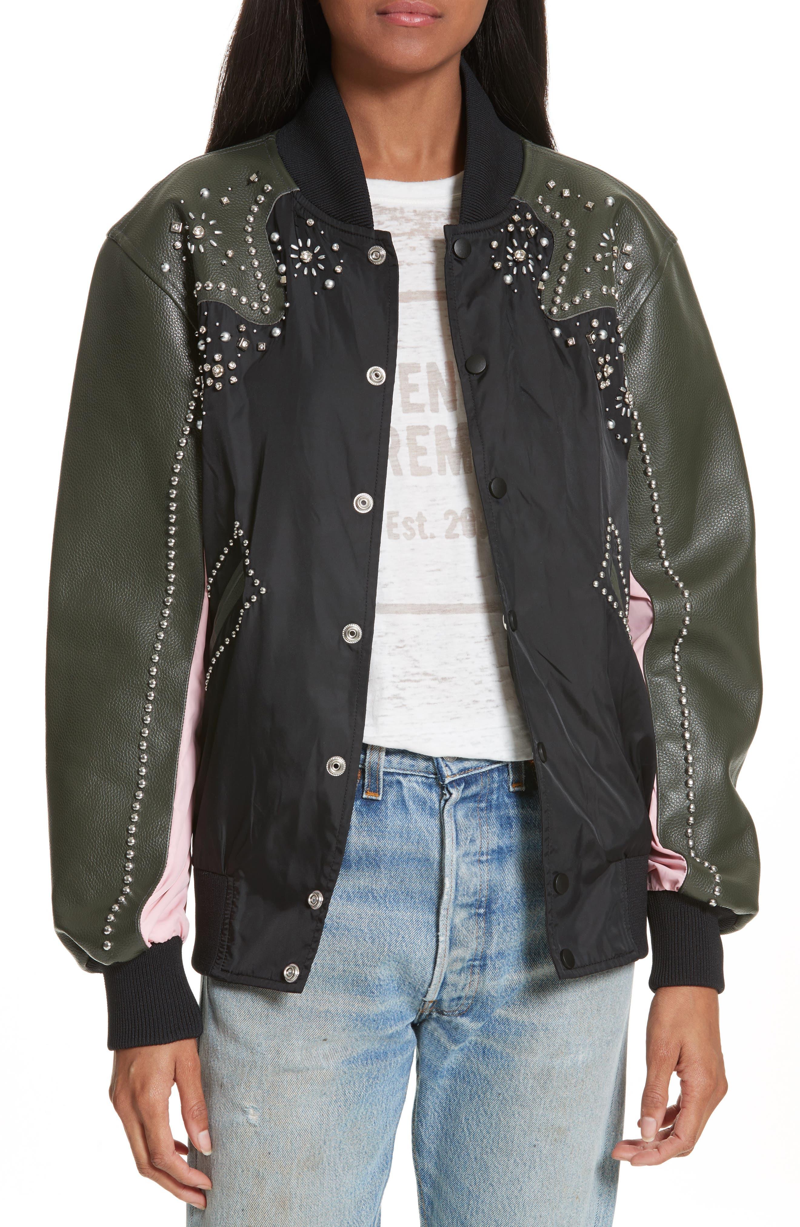 Studded Western Varsity Jacket,                             Main thumbnail 1, color,                             Black Multi