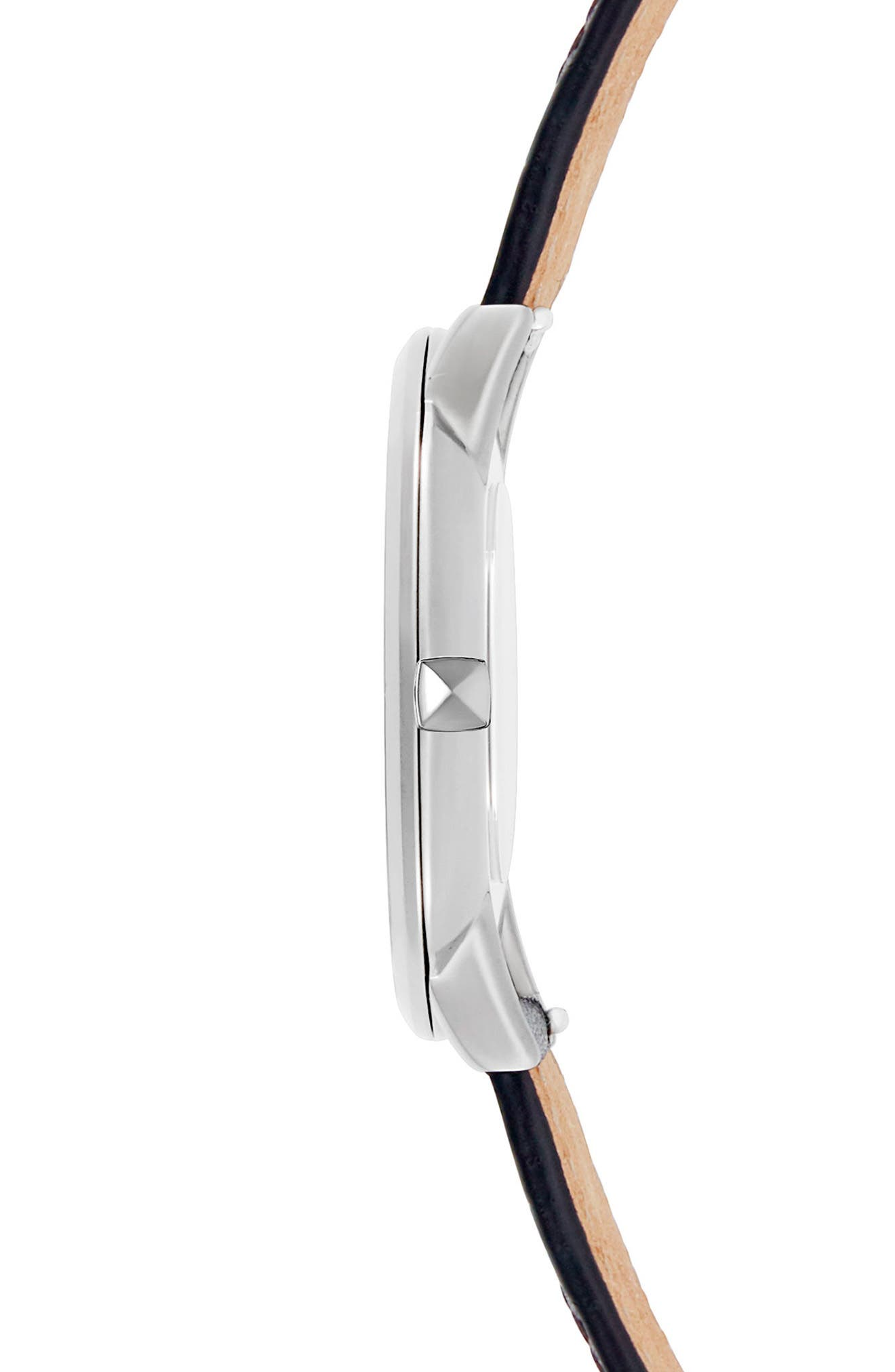 Leather Strap Watch, 40mm,                             Alternate thumbnail 3, color,                             Black Multi/ Silver White