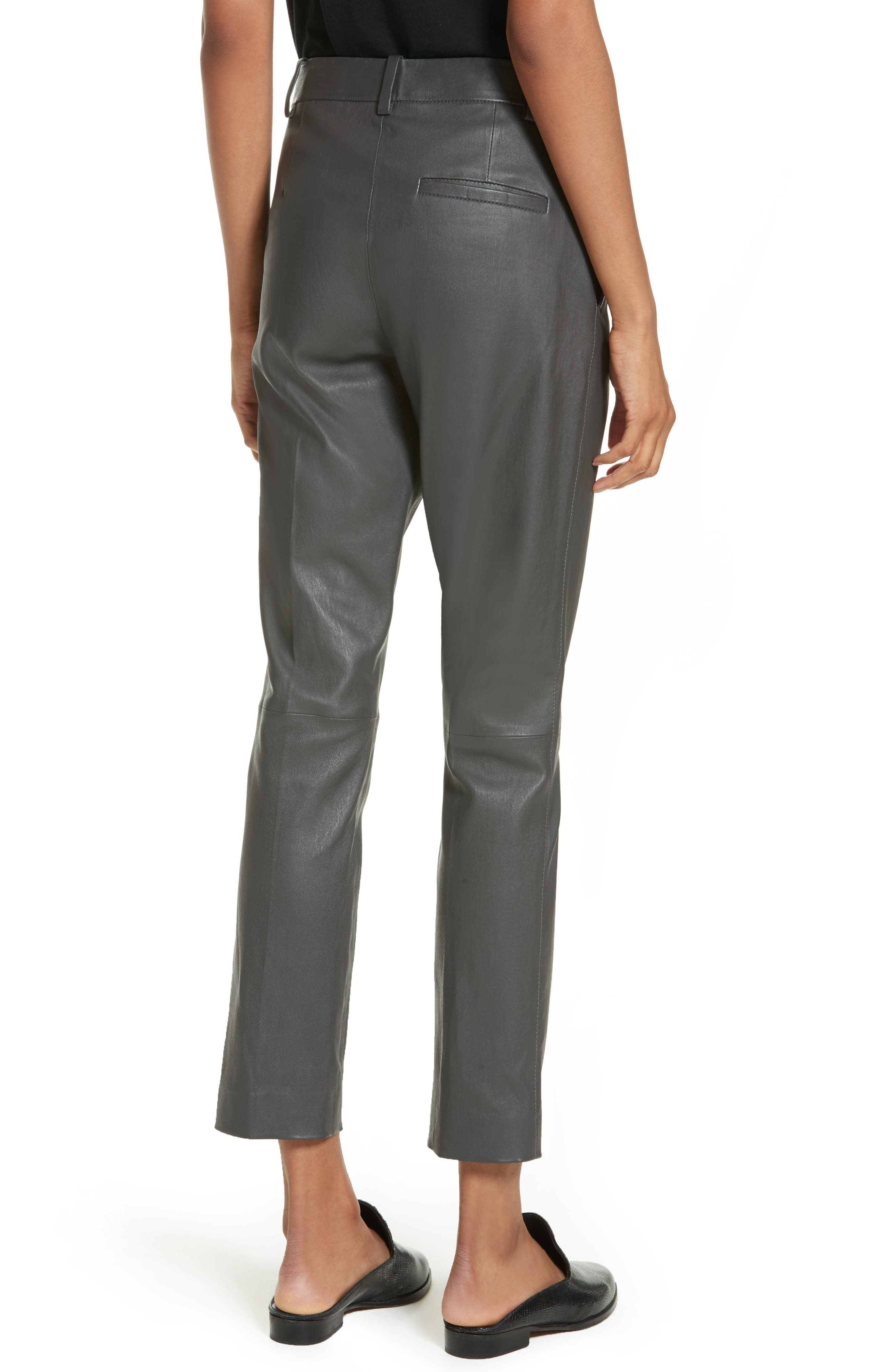 Stretch Zoom Leather Straight Leg Pants,                             Alternate thumbnail 3, color,                             Graphite
