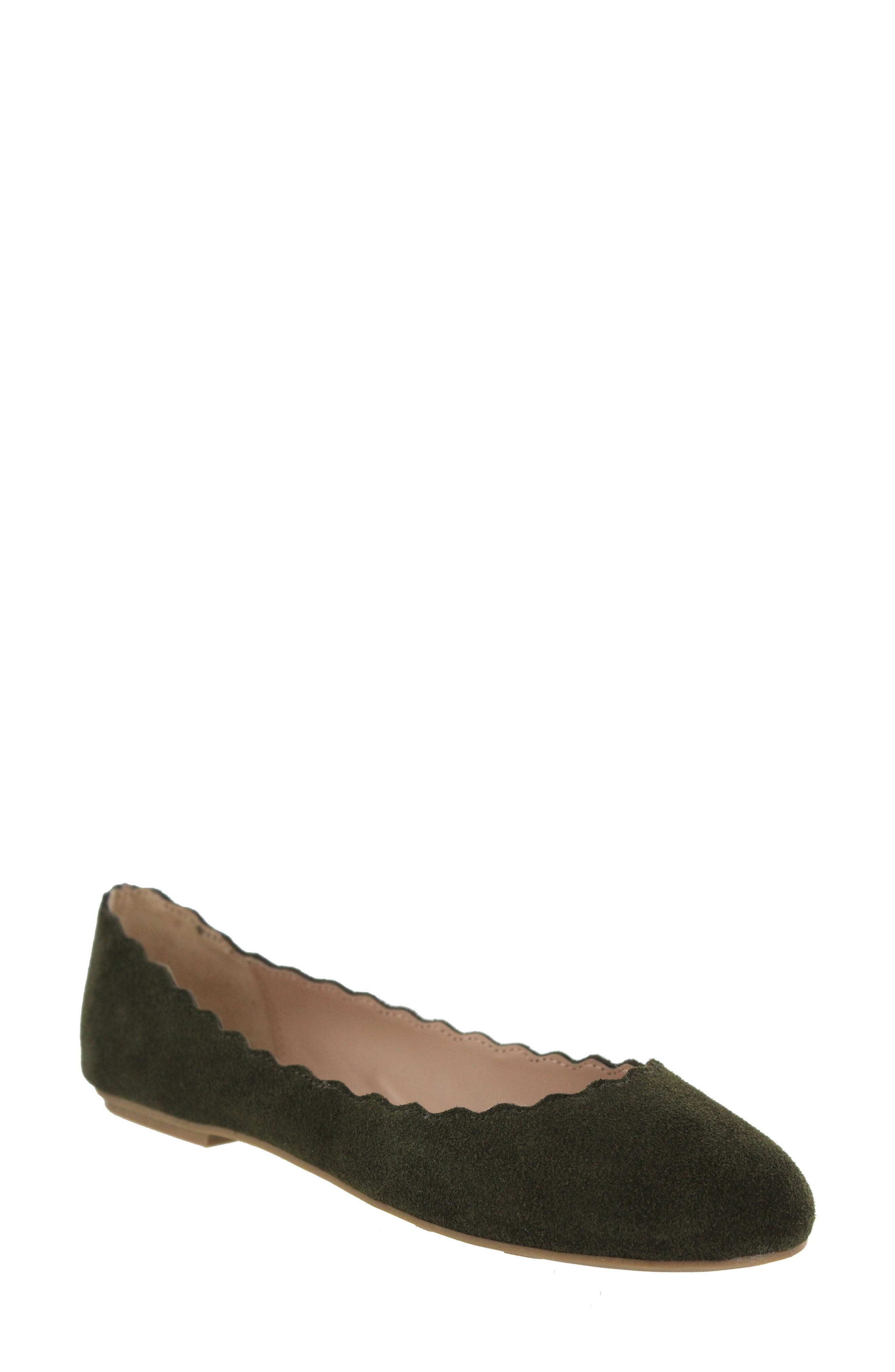 Gianna Scalloped Flat,                         Main,                         color, Olive