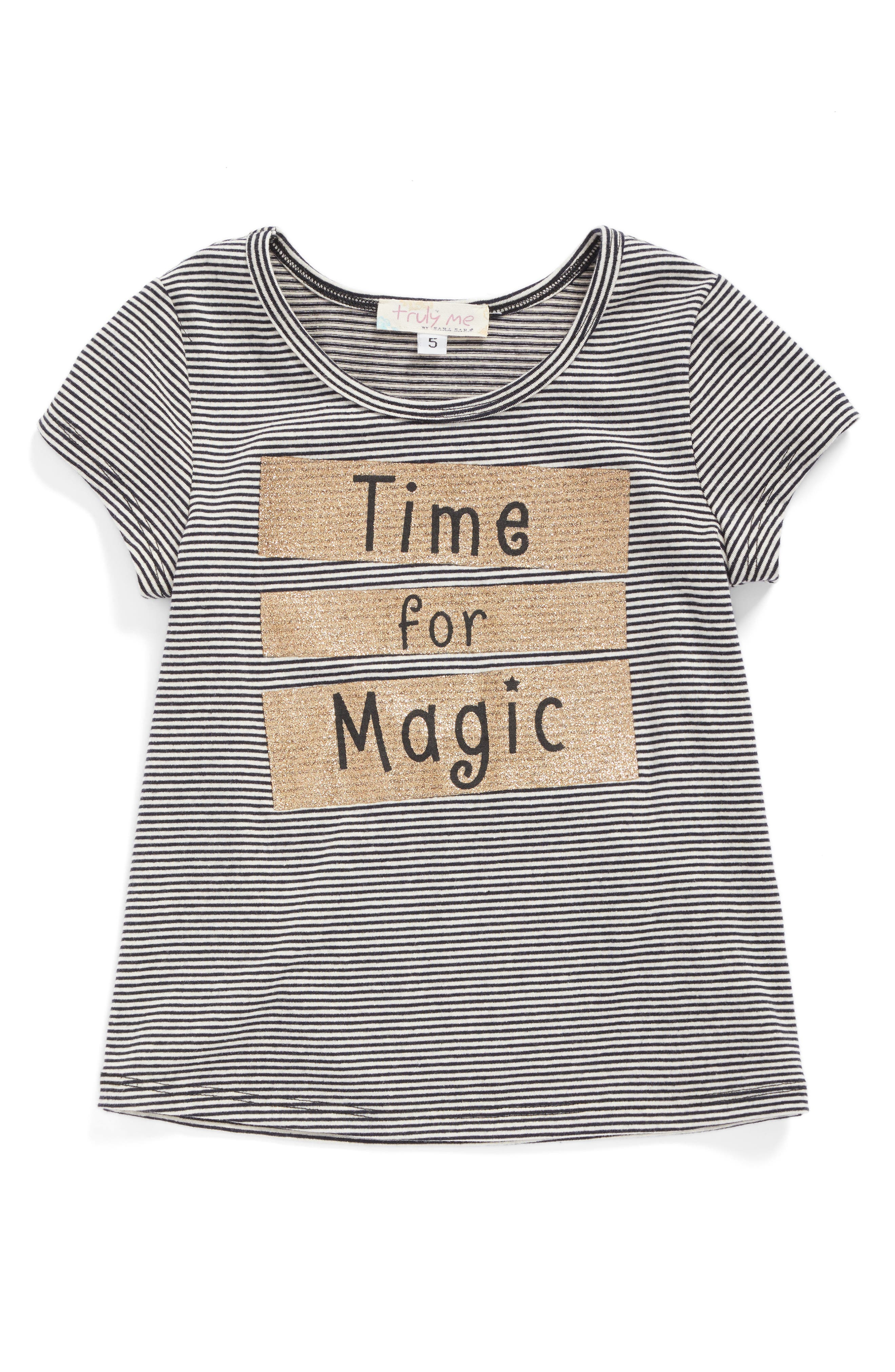 Alternate Image 1 Selected - Truly Me Time For Magic Stripe Tee (Baby Girls)