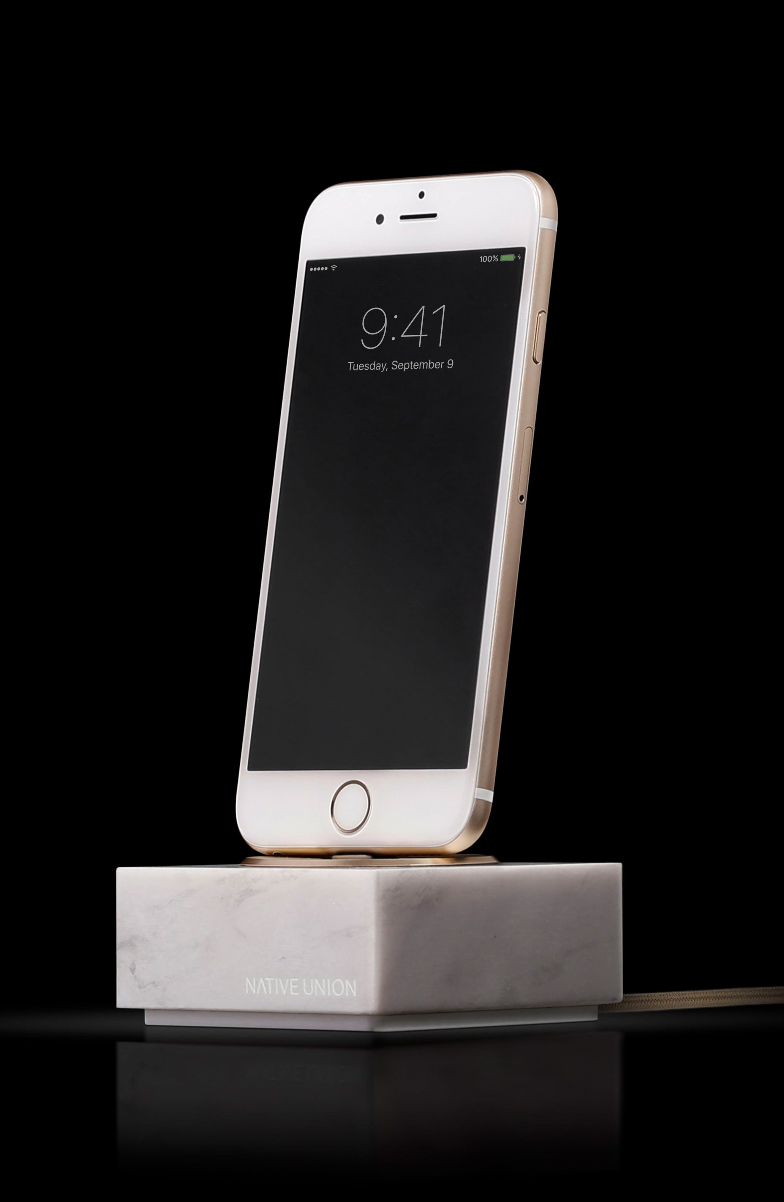 DOCK+ Marble Charging Station with Lightning Cable,                             Alternate thumbnail 2, color,                             White Marble