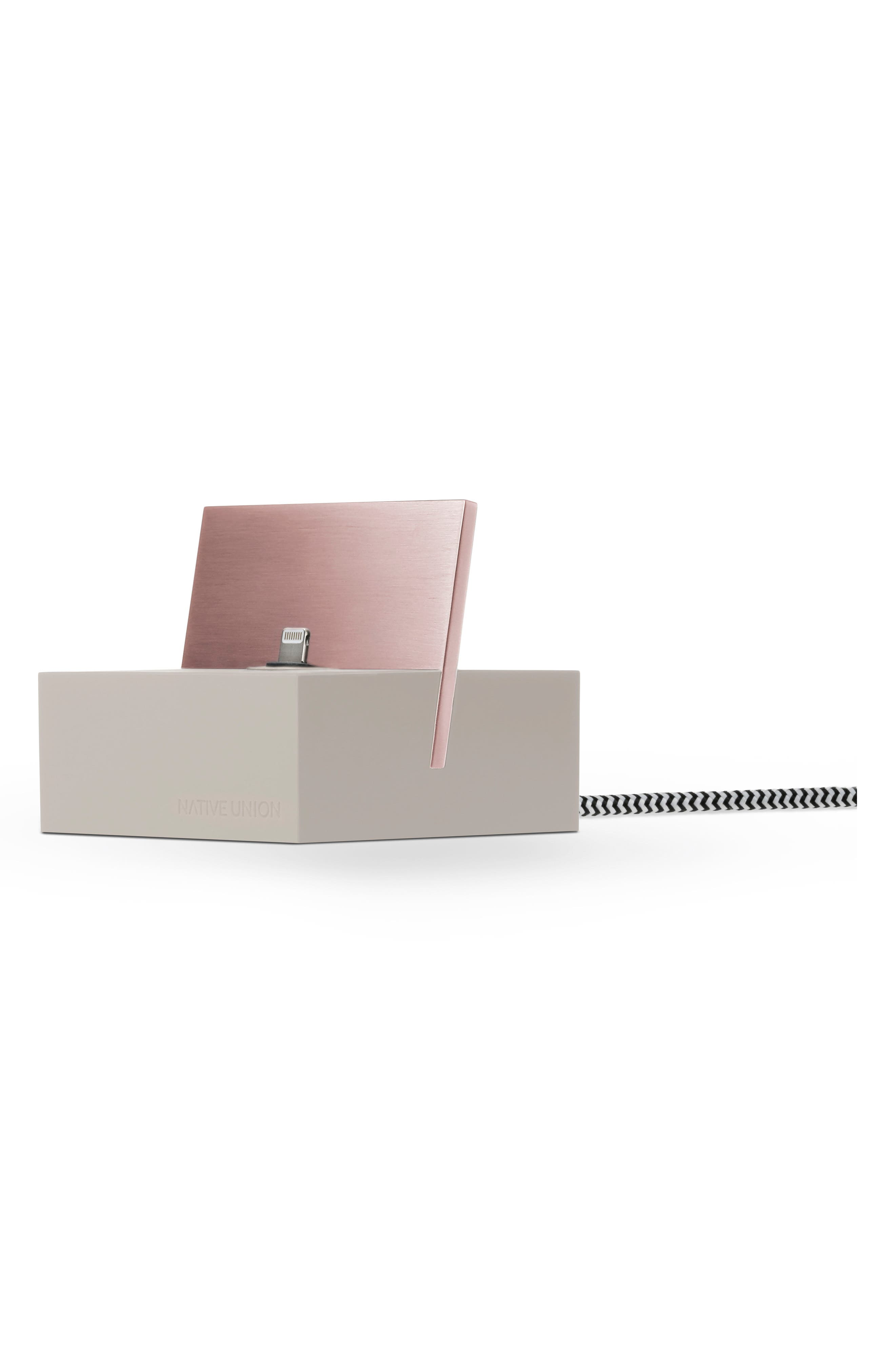 DOCK+ Charging Station with Lightning Cable,                         Main,                         color, Stone/ Rose Gold