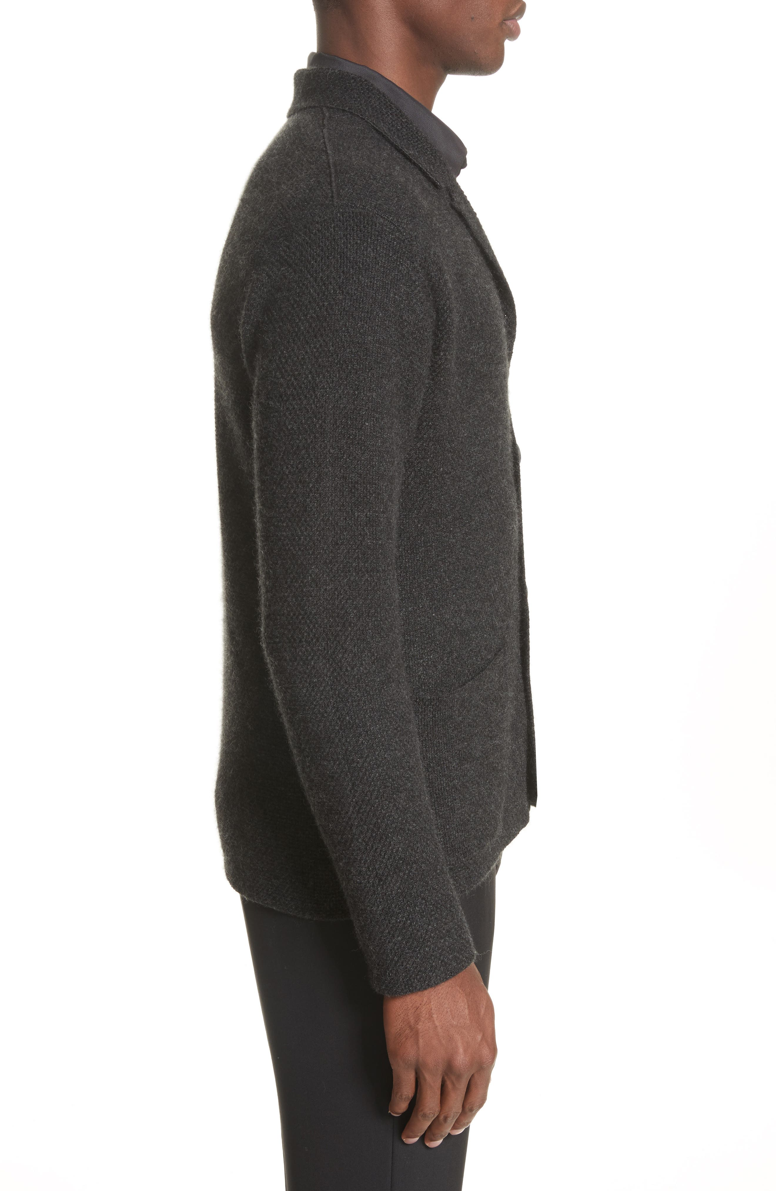 Cashmere Sweater Jacket,                             Alternate thumbnail 3, color,                             Anthracite
