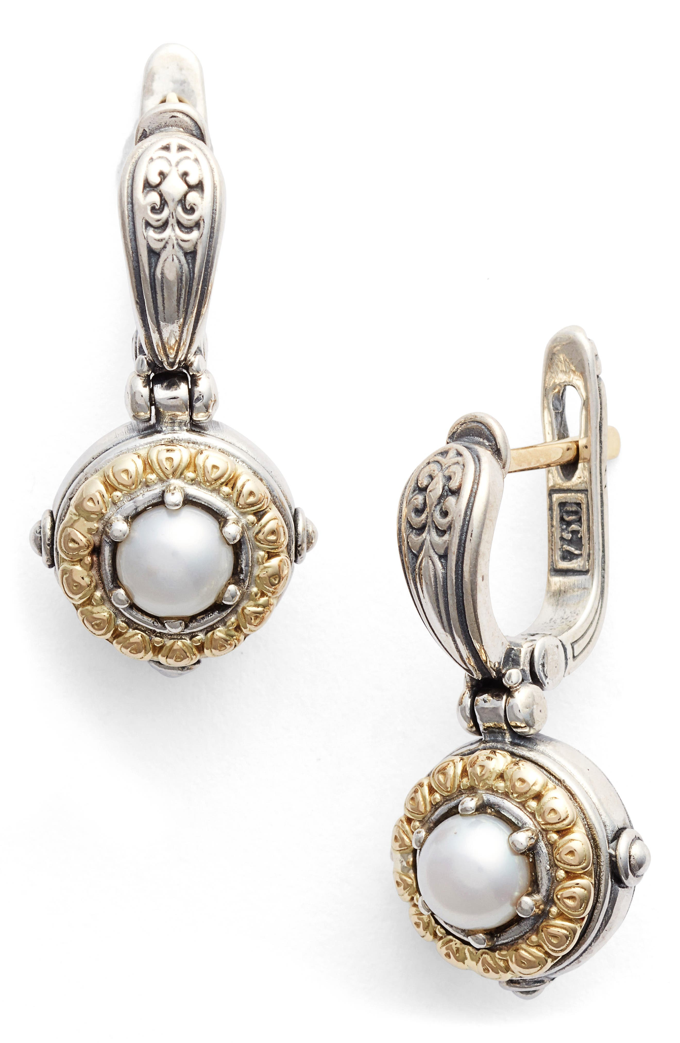 Hermione Drop Earrings,                         Main,                         color, Silver/ Gold/ Pearl