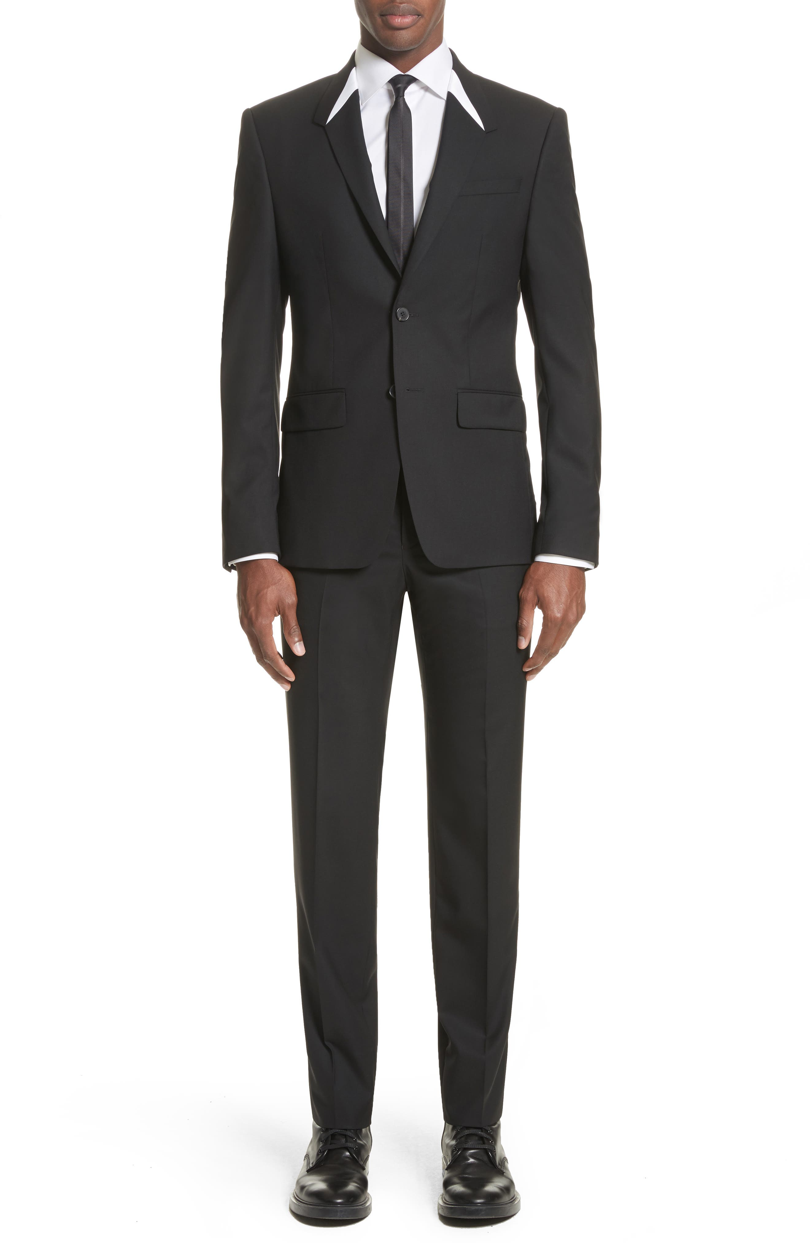 White Inset Madonna Collar Wool Suit,                         Main,                         color, Black