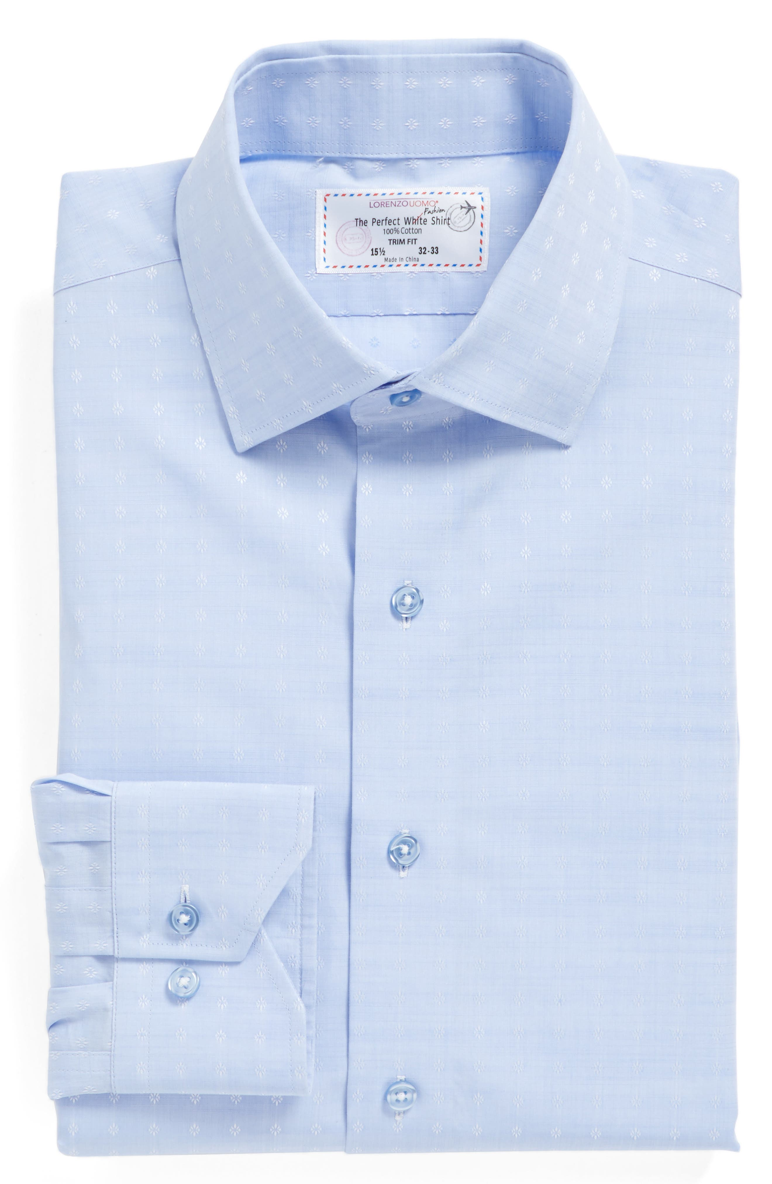 LORENZO UOMO Trim Fit Floral Dress Shirt