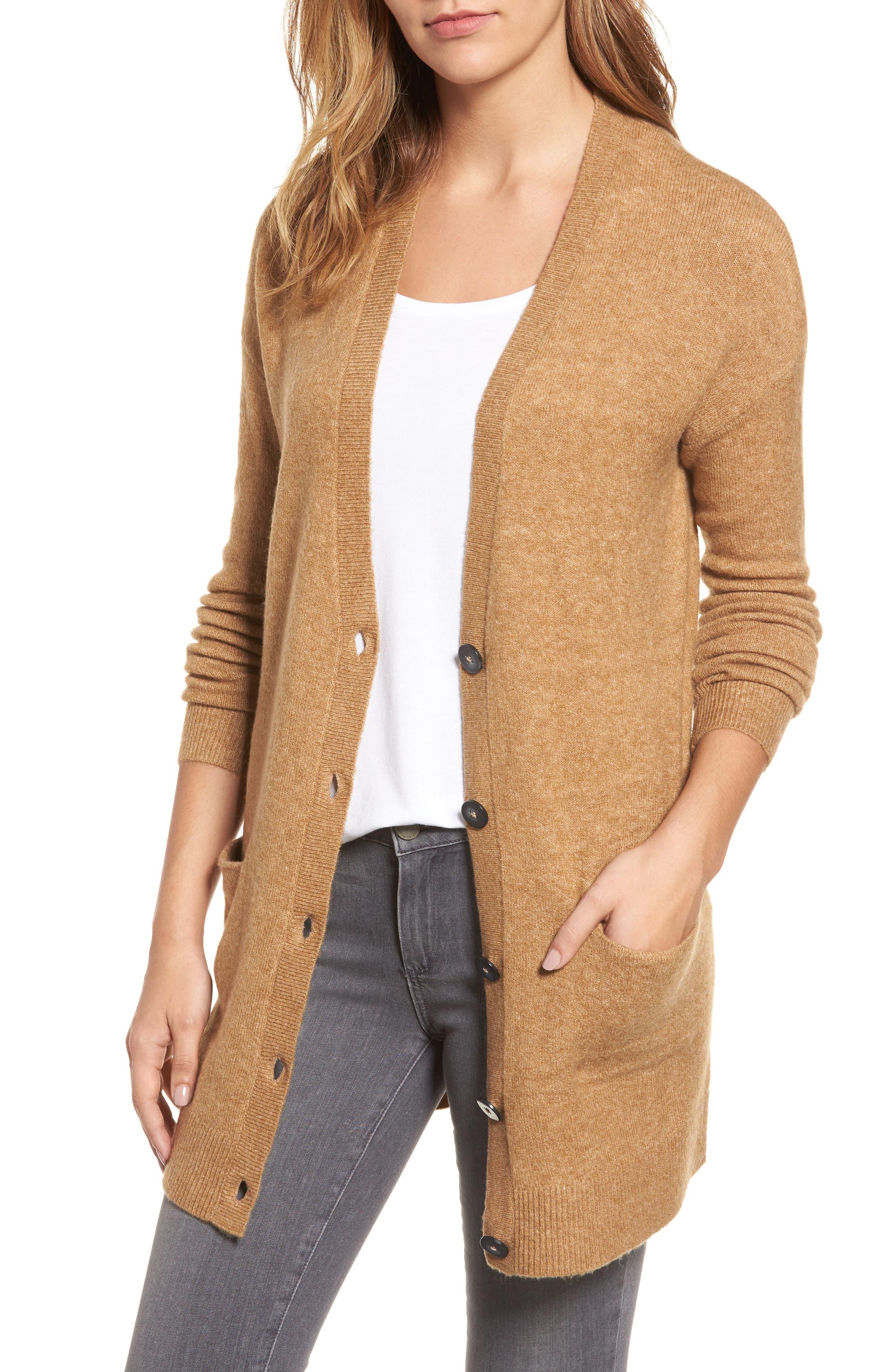 Main Image - Halogen® Long Sleeve V-Neck Cardigan (Regular & Petite)