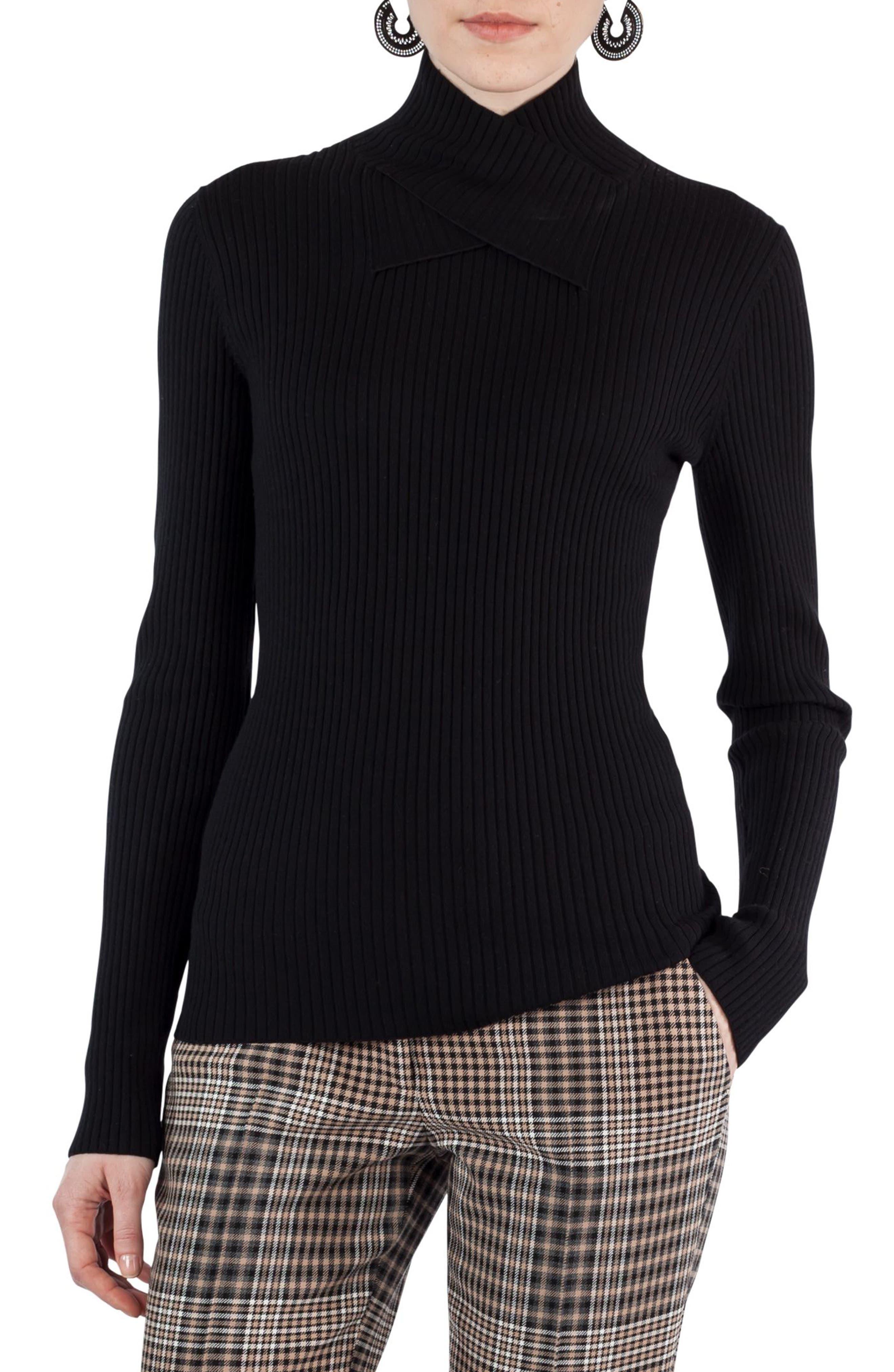 Stretch Wool Crisscross Turtleneck,                         Main,                         color, Black