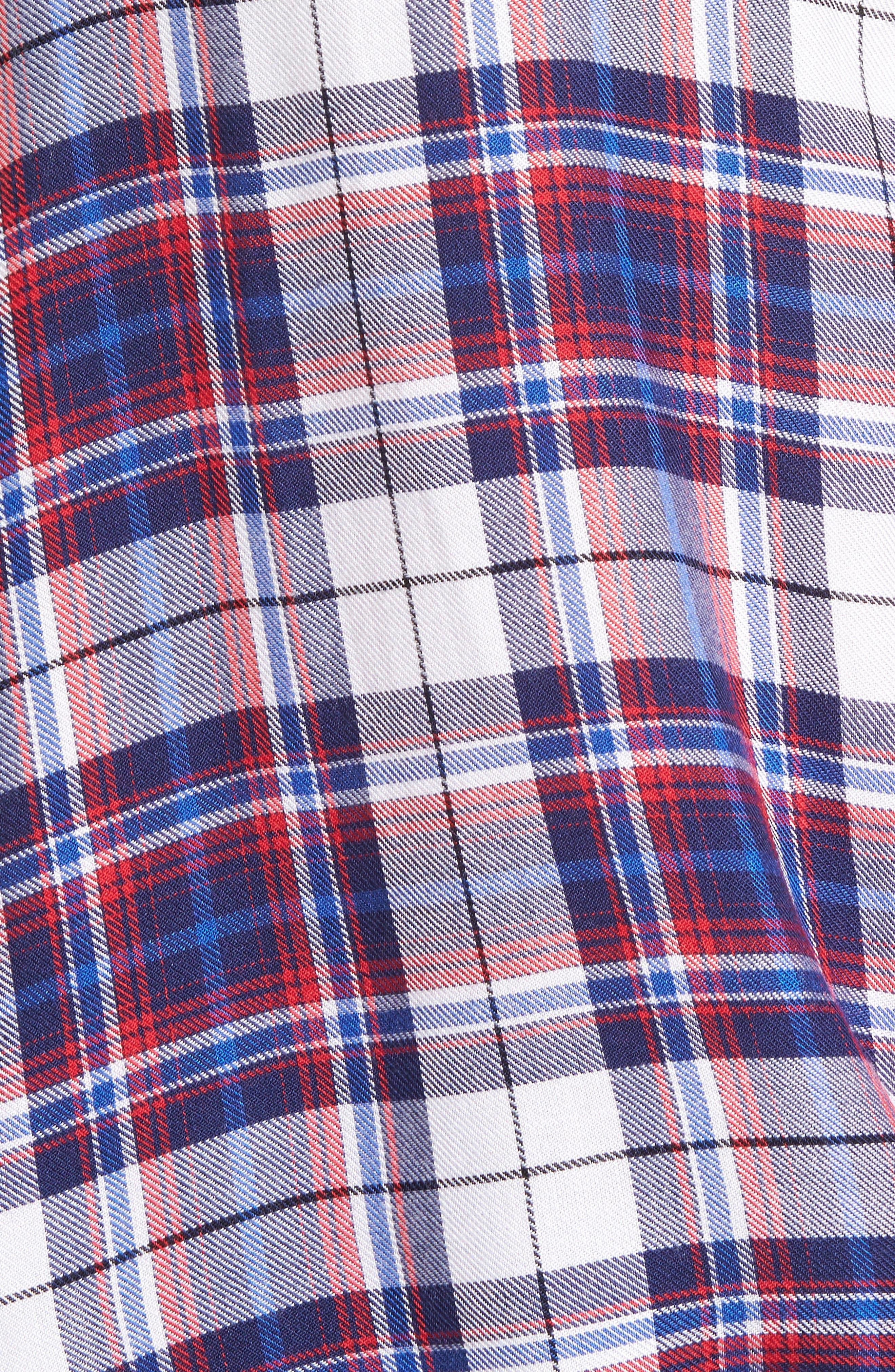 Tie Front Plaid Shirt,                             Alternate thumbnail 5, color,                             Burgundy/ Black Plaid