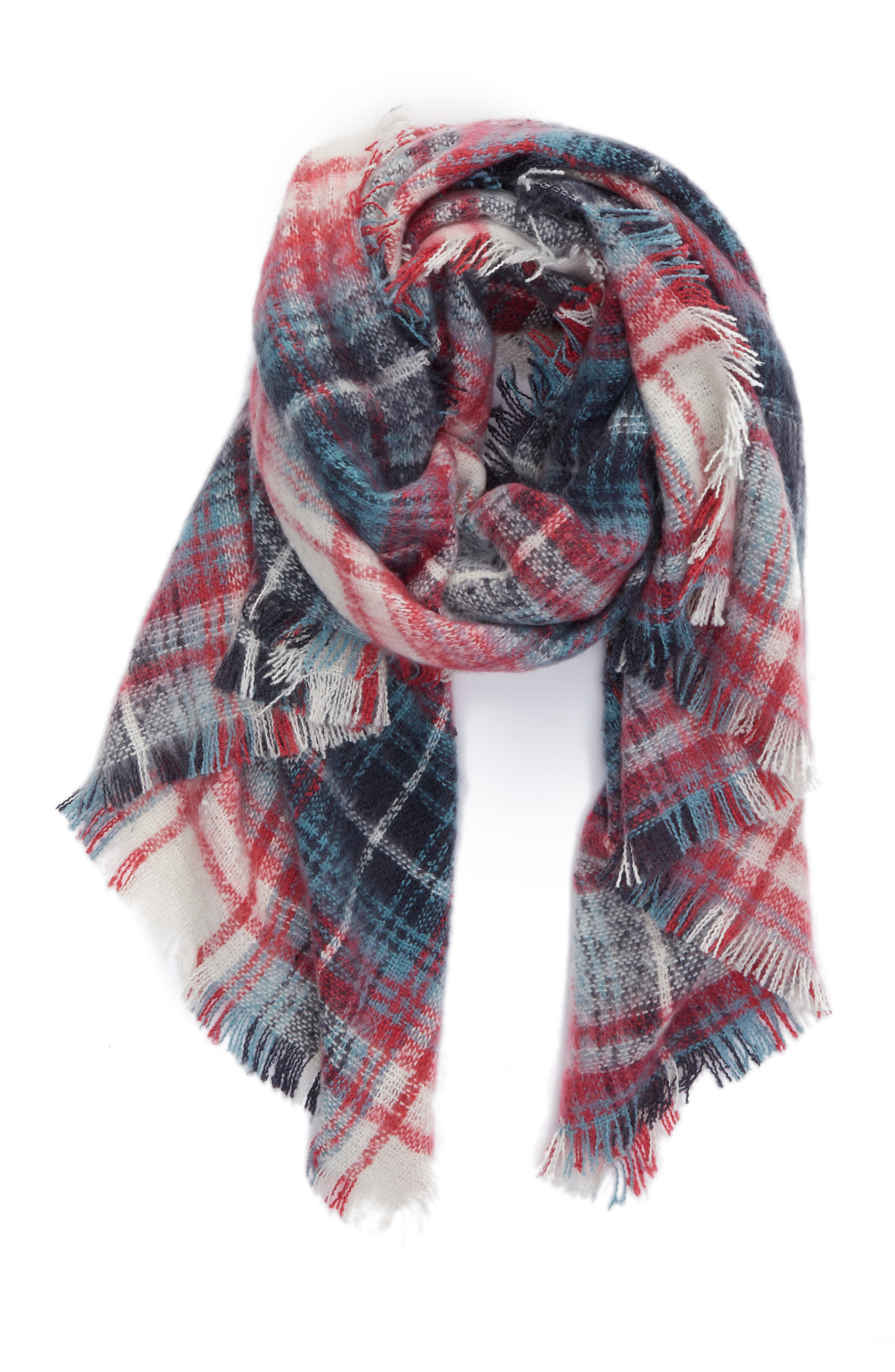 Tartan Blanket Wrap,                             Alternate thumbnail 5, color,                             Pink Combo