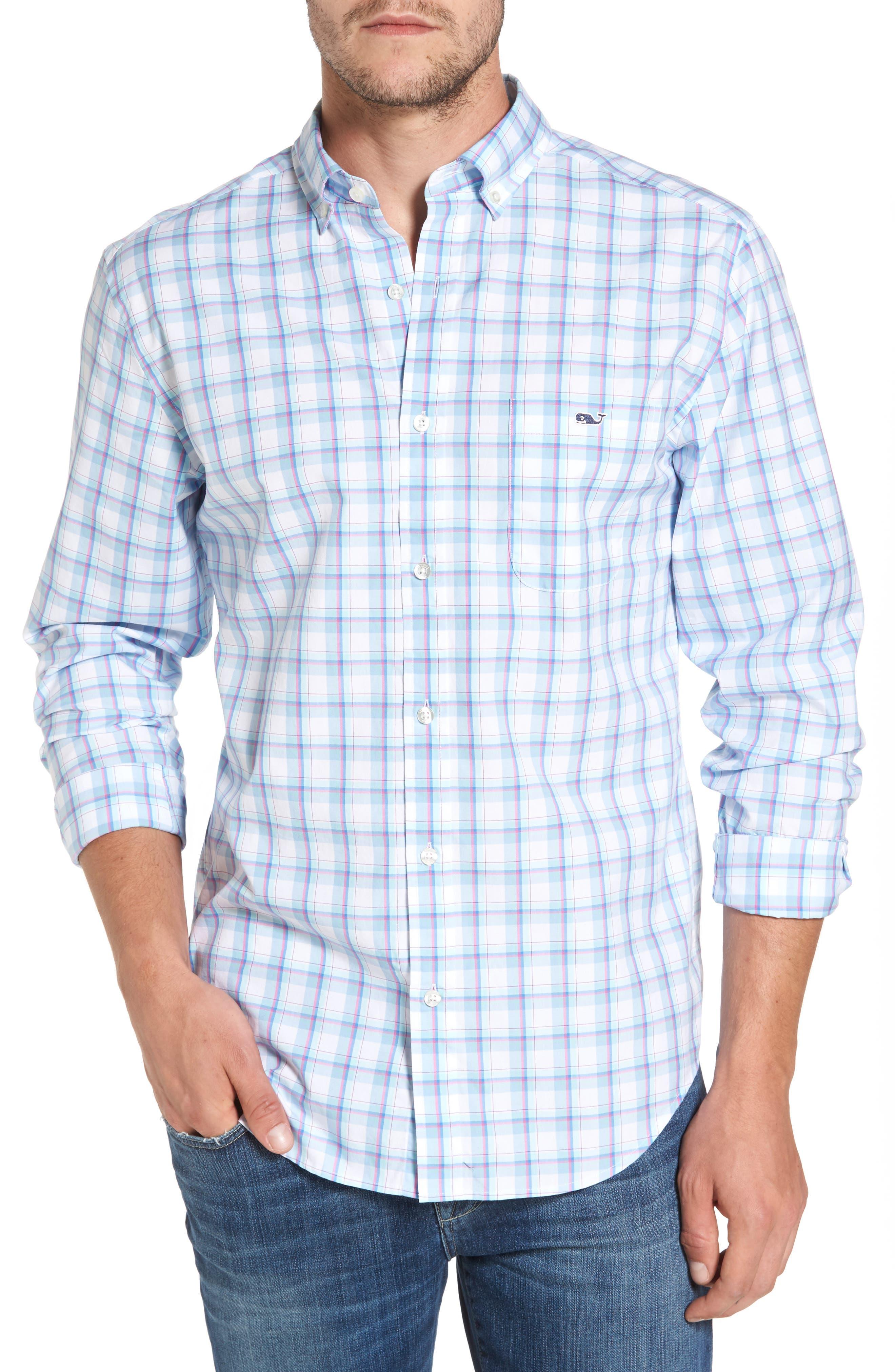 Plaid Classic Fit Sport Shirt,                         Main,                         color, Jake Blue