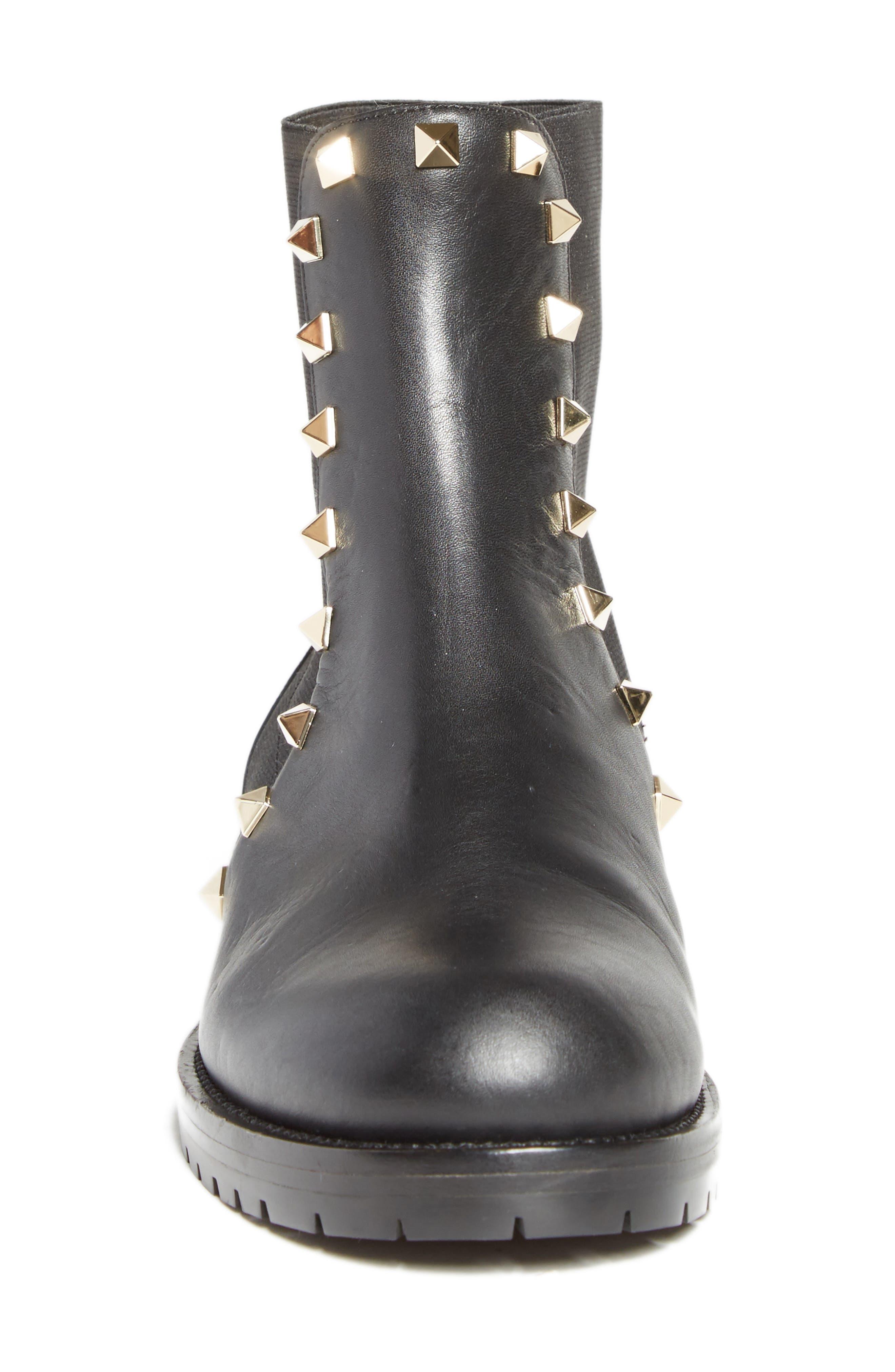 Beatle Rockstud Boot,                             Alternate thumbnail 4, color,                             Black