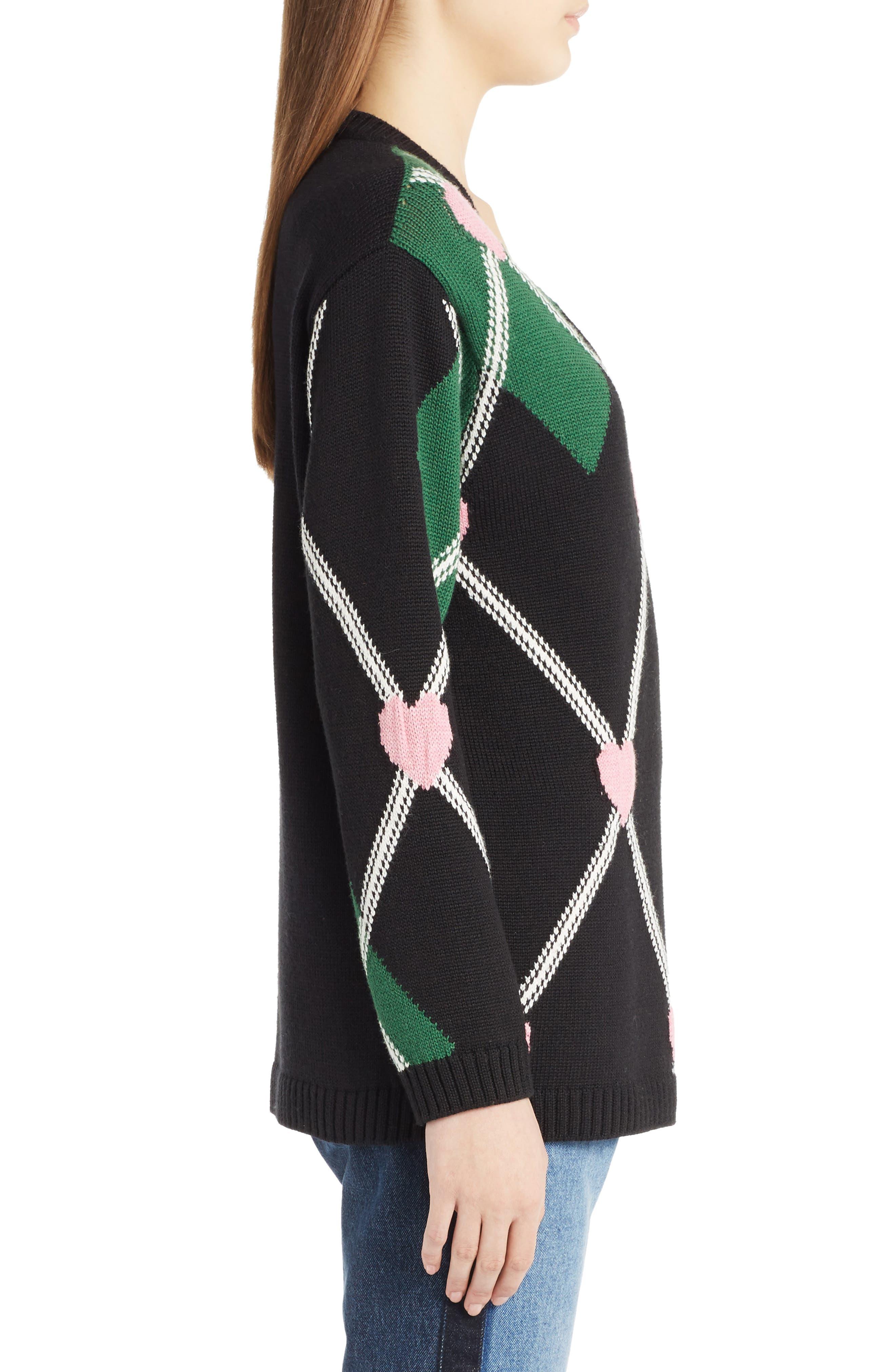 Argyle Heart Sweater,                             Alternate thumbnail 4, color,                             Black