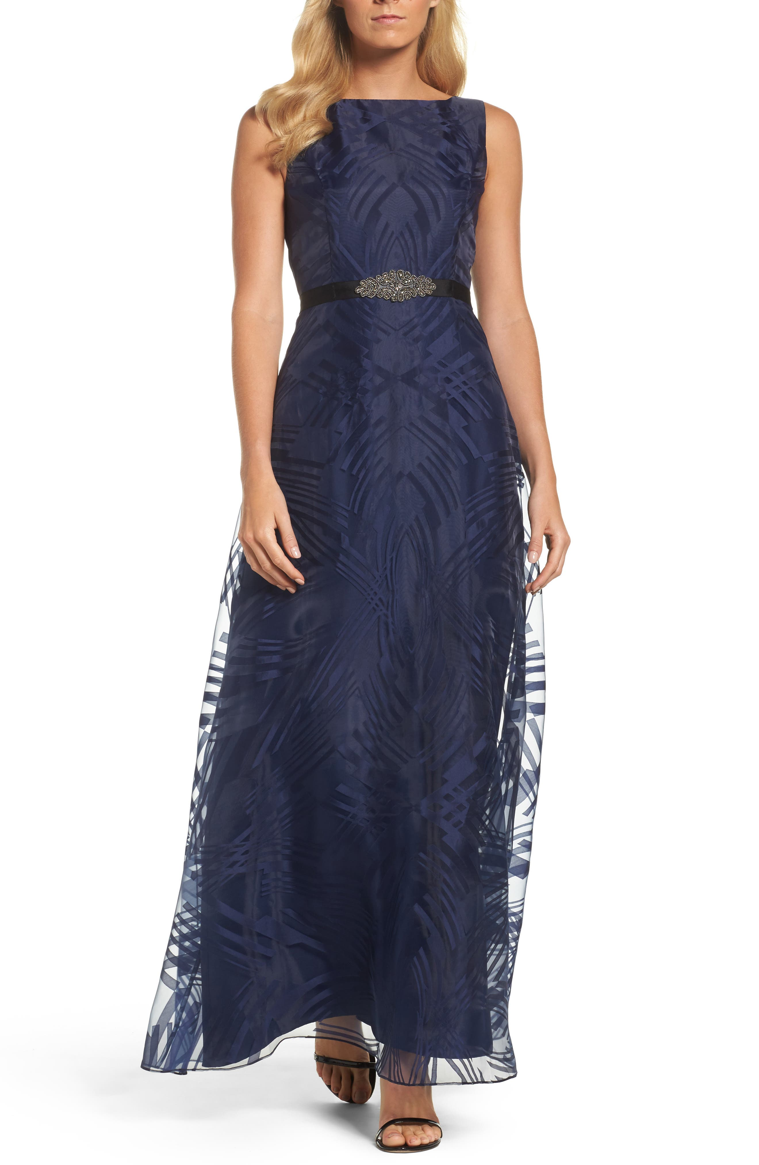 Ellen Tracy Embellished Burnout Gown