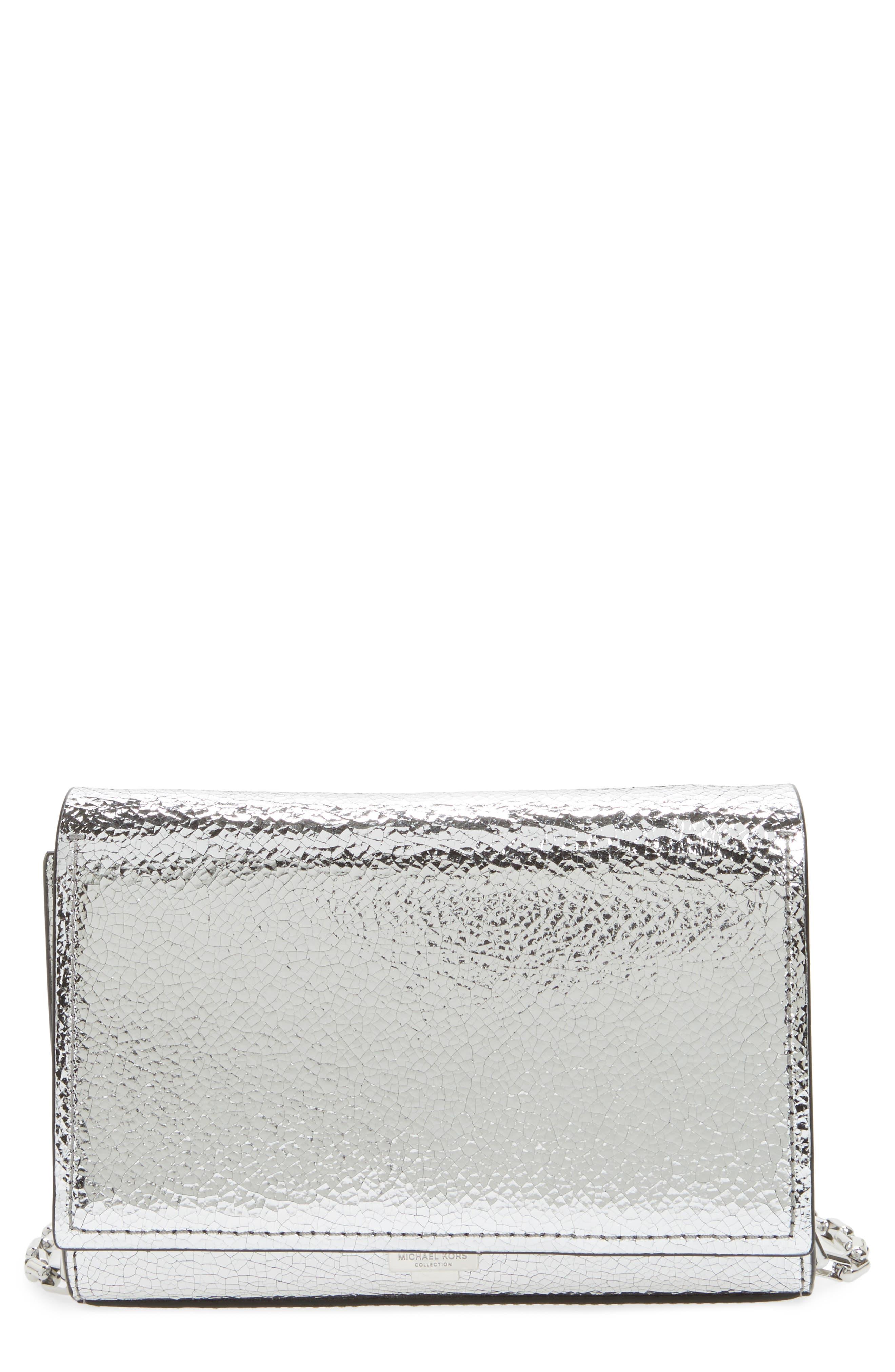 Michael Kors Yasmeen Small Metallic Leather Clutch