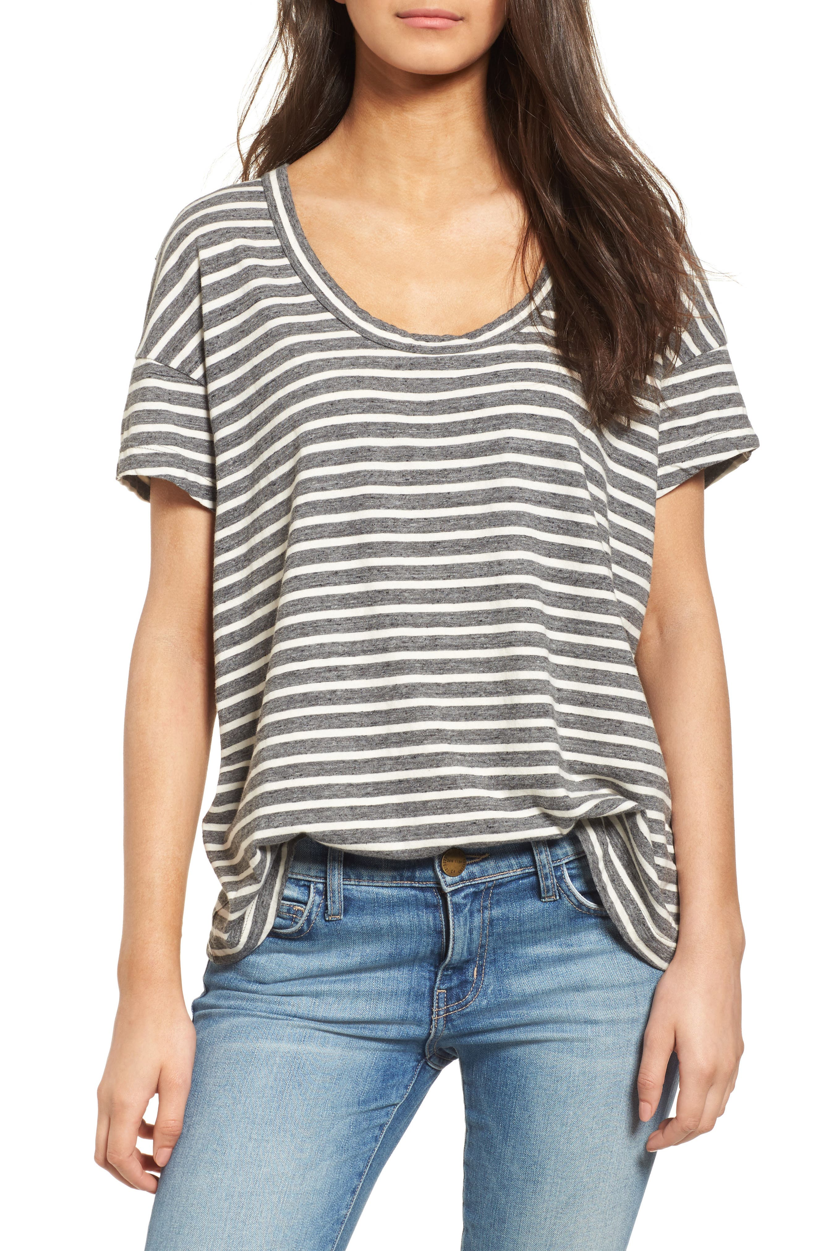 Stripe Slouchy Tee,                         Main,                         color, Charcoal Anchor Stripe