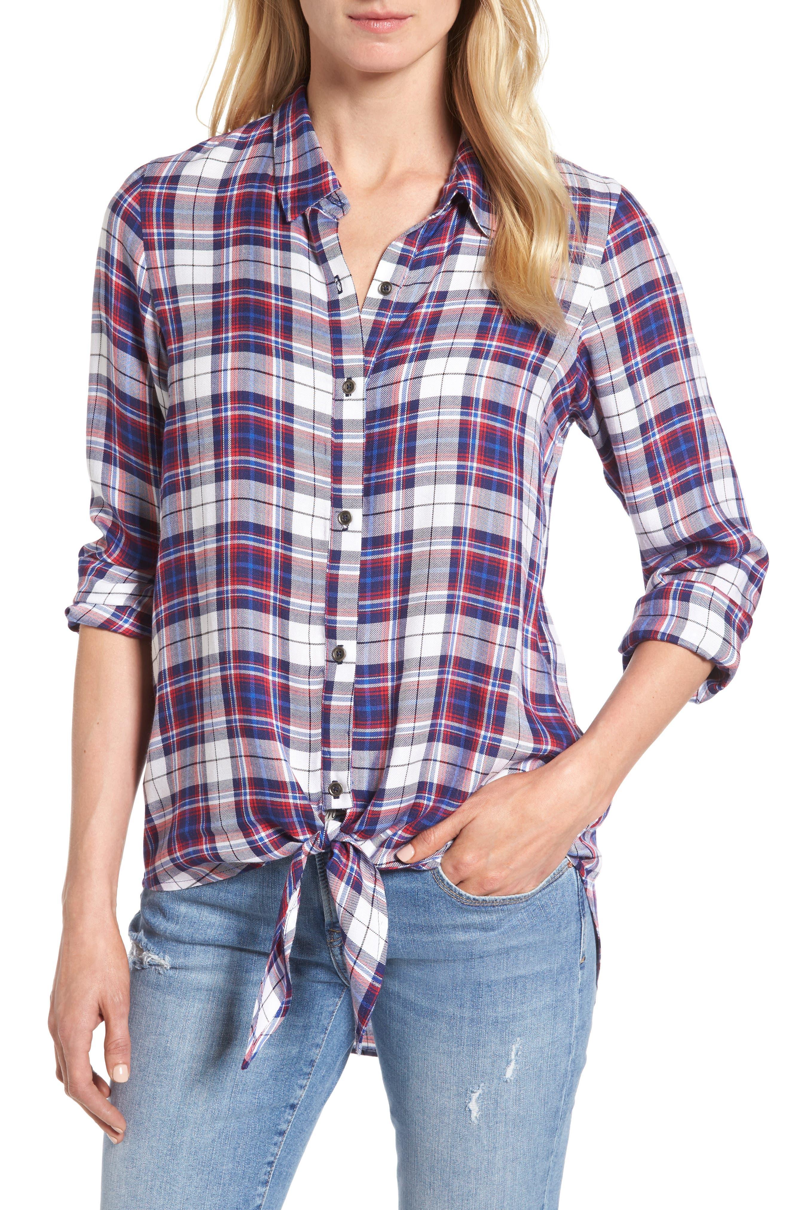 Tie Front Plaid Shirt,                         Main,                         color, Burgundy/ Black Plaid