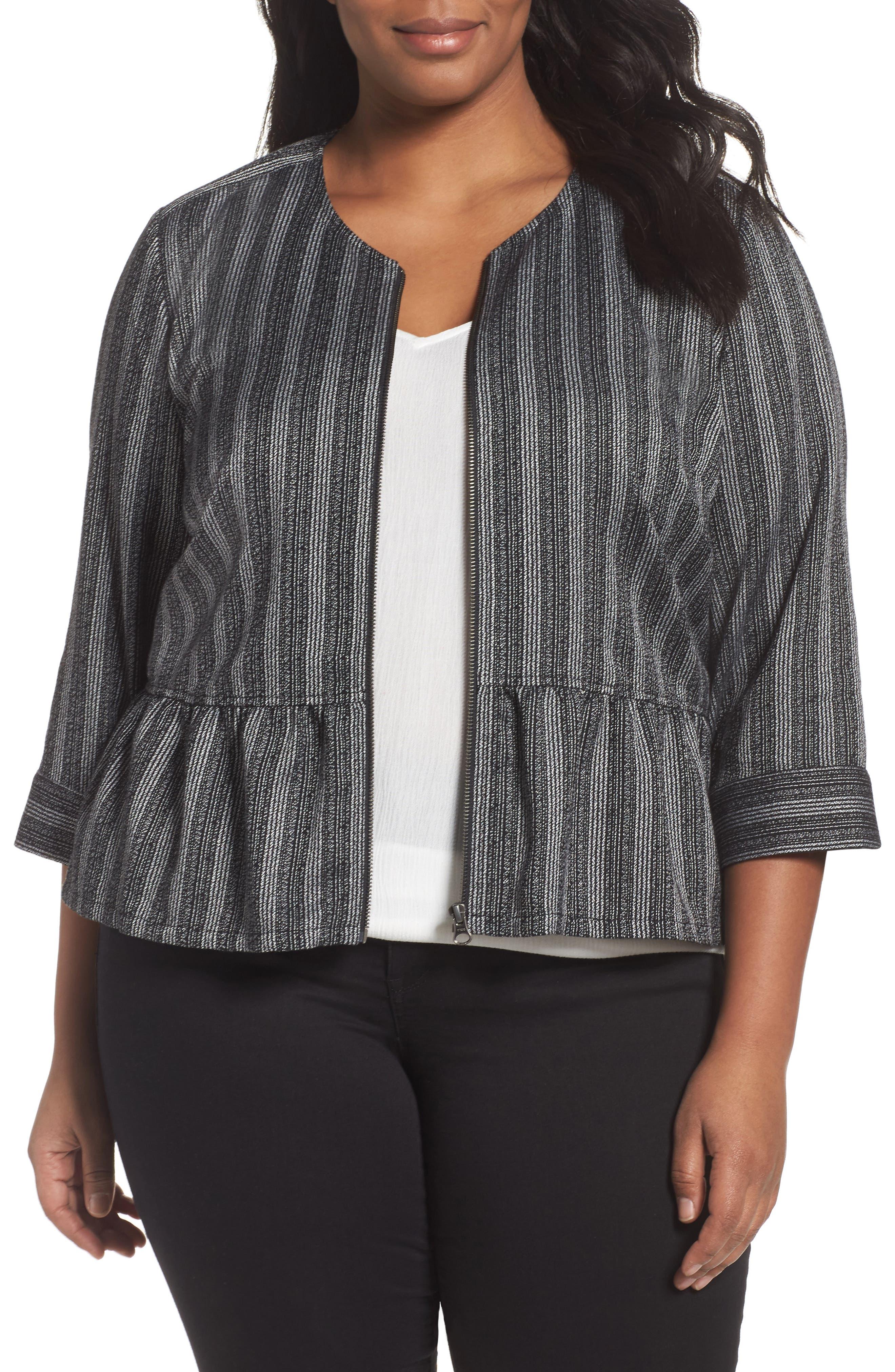 Sejour Stripe Peplum Jacket (Plus Size)