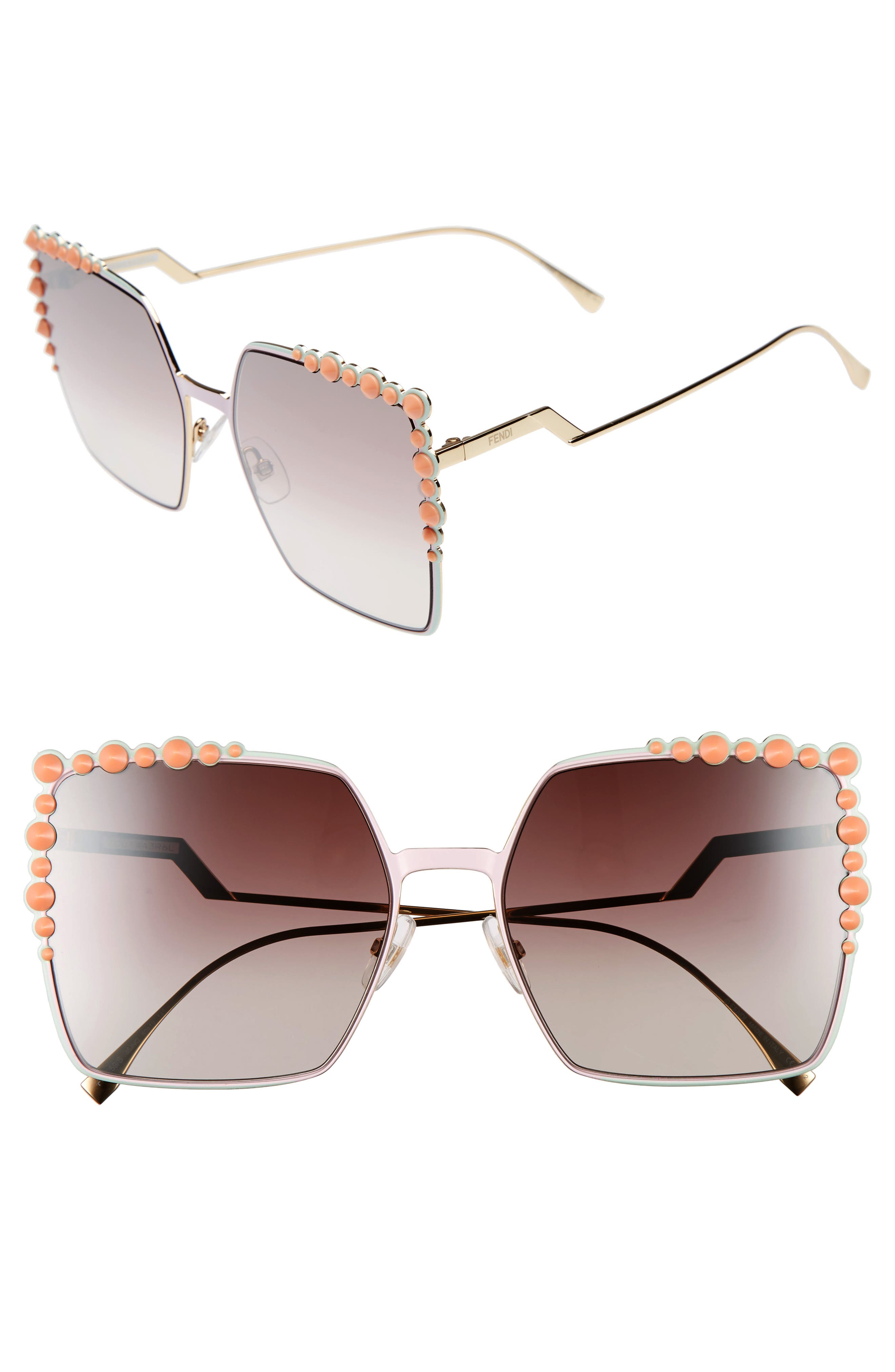 Alternate Image 1 Selected - Fendi 60mm Gradient Square Cat Eye Sunglasses