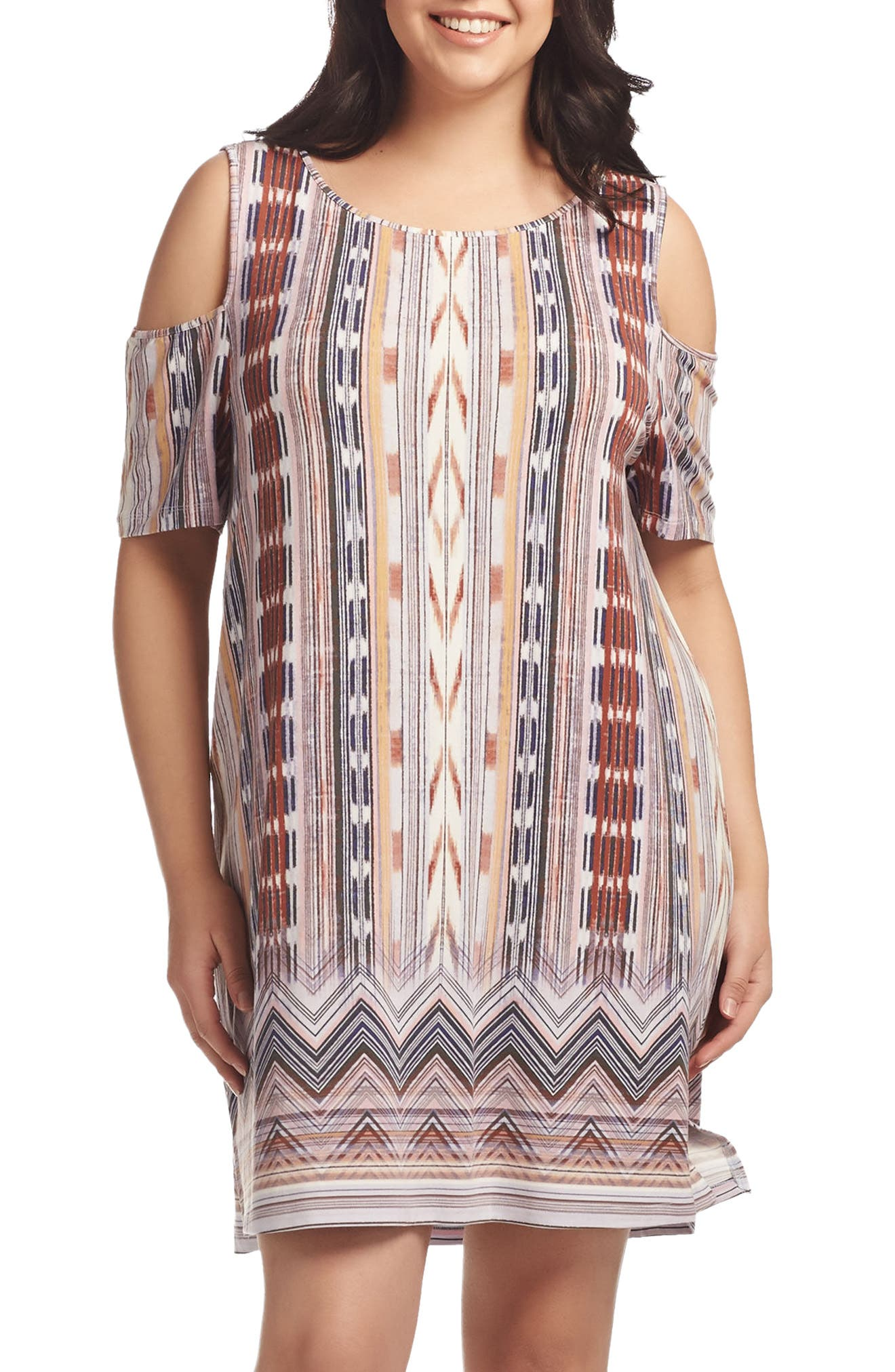Tabitha Print Cold Shoulder Shift Dress,                             Main thumbnail 1, color,                             Worn Block Print