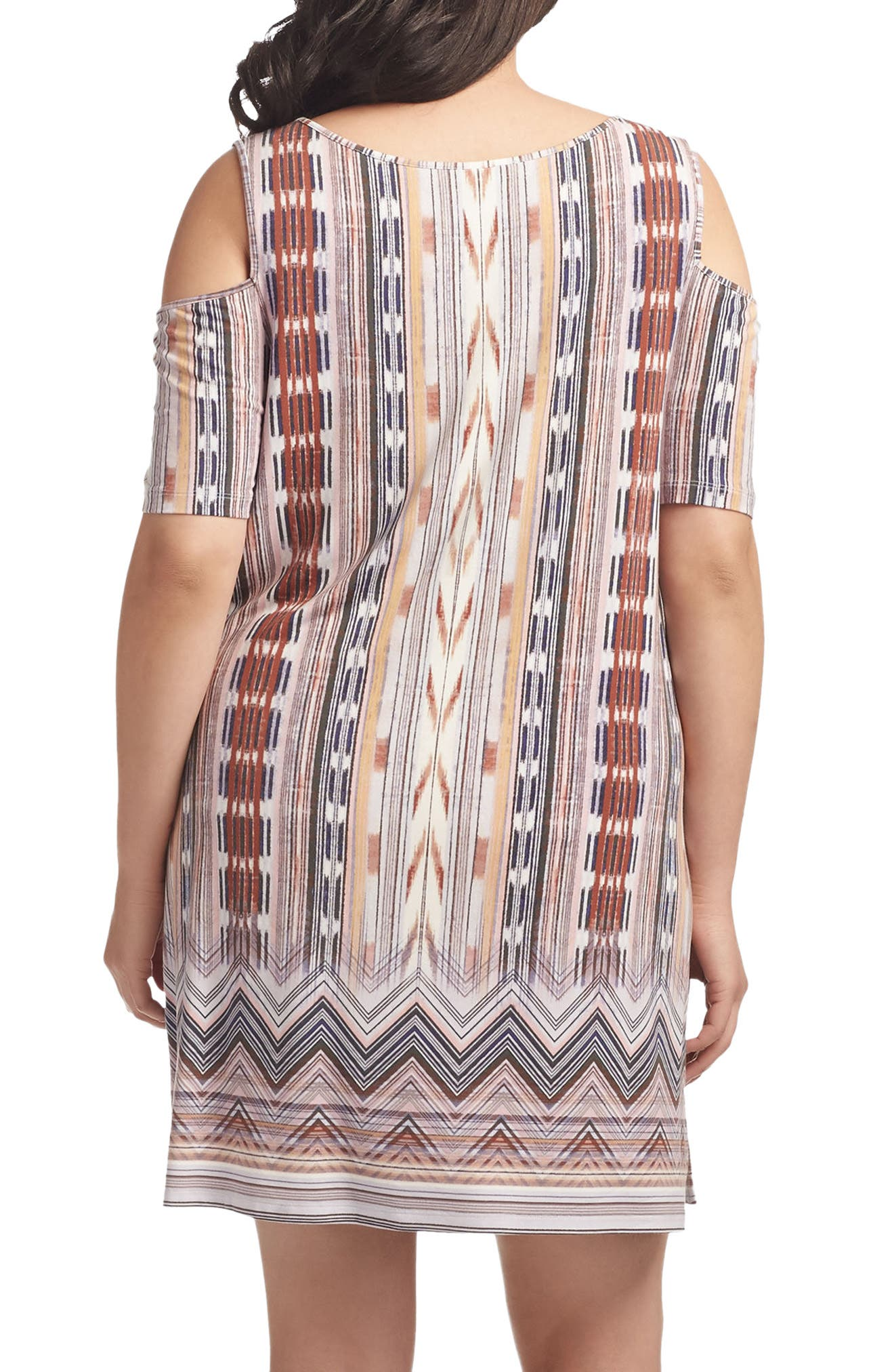 Tabitha Print Cold Shoulder Shift Dress,                             Alternate thumbnail 2, color,                             Worn Block Print