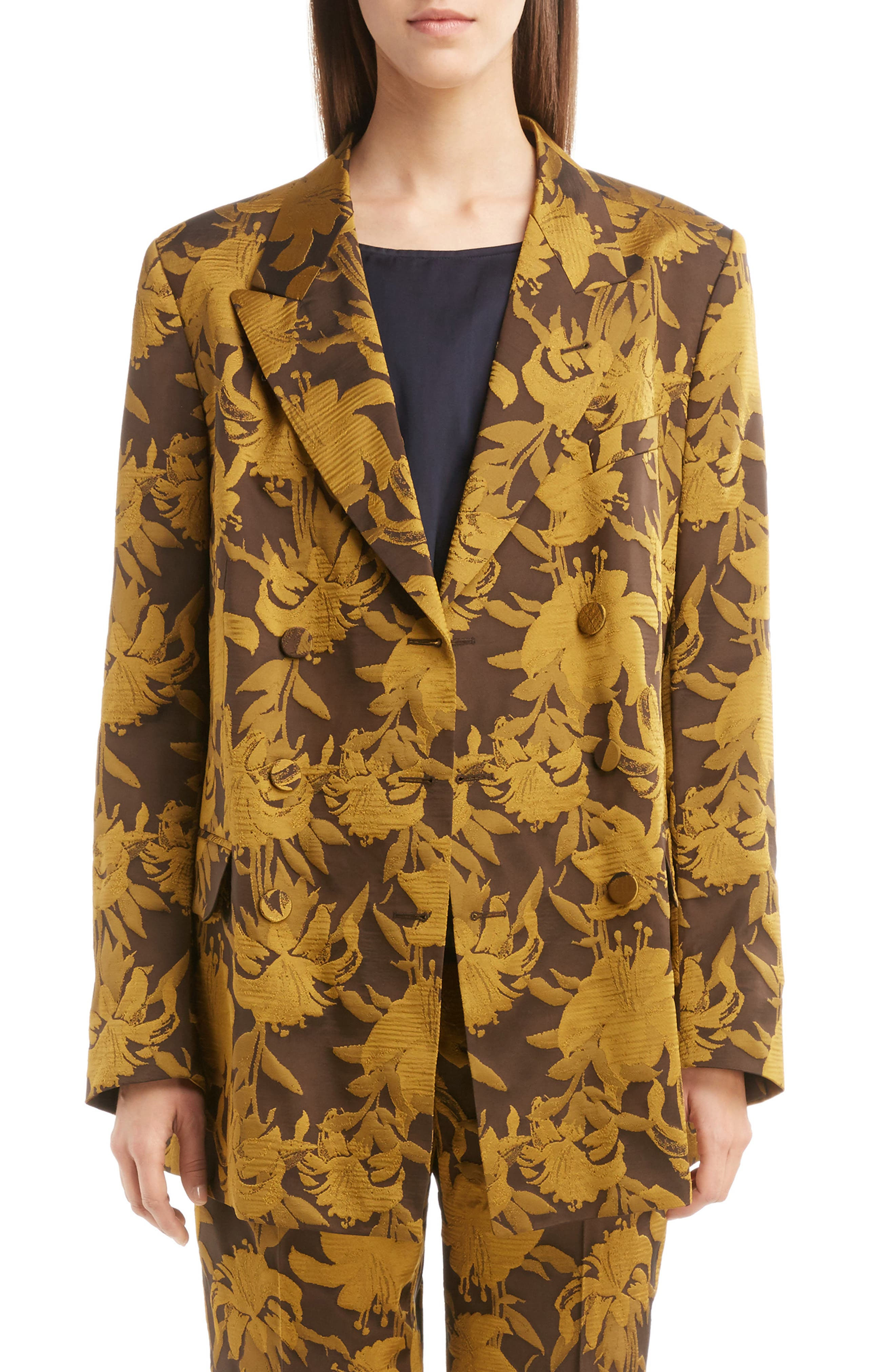 Damask Double Breasted Jacket,                         Main,                         color, Yellow