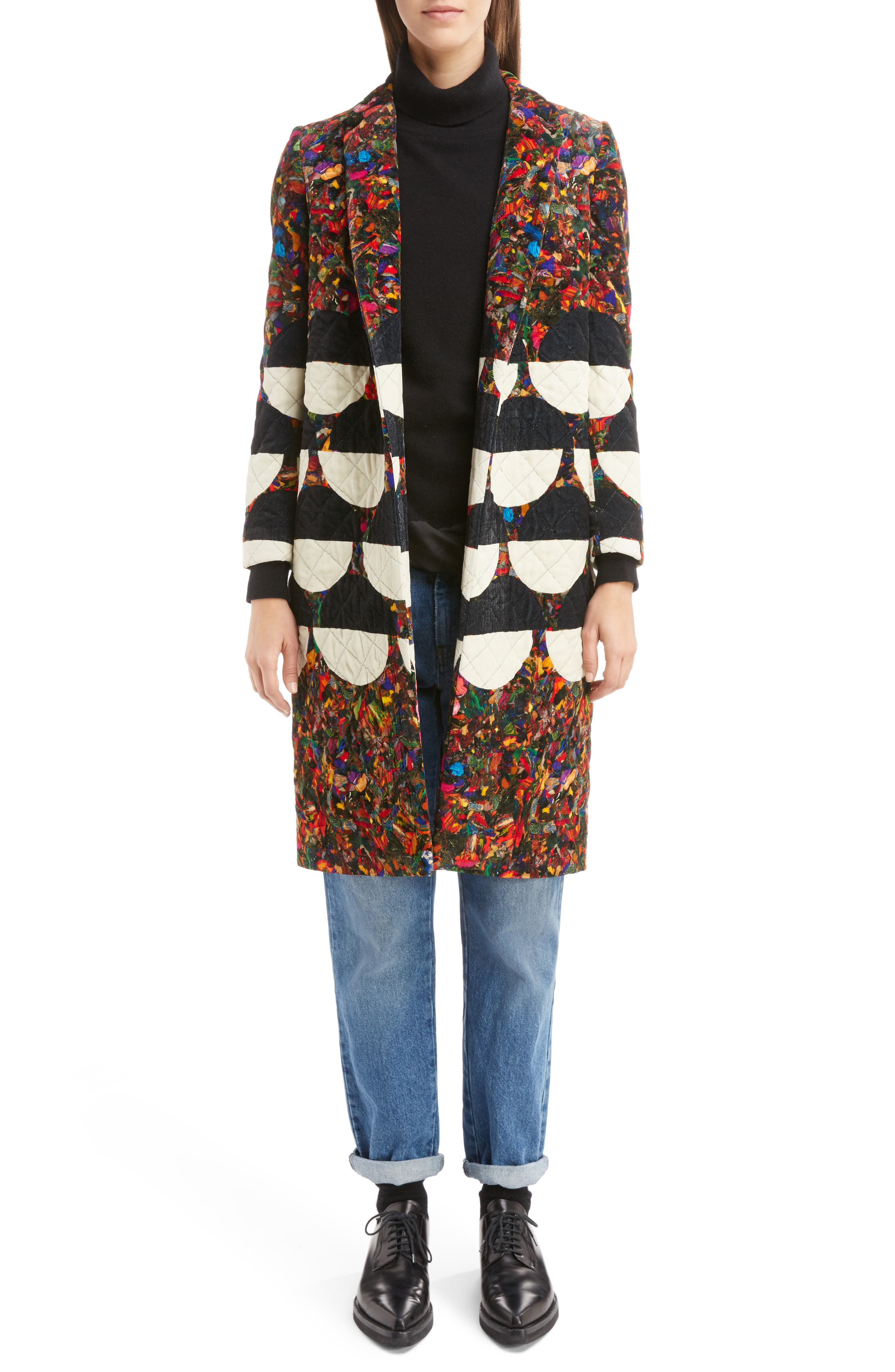 Alternate Image 6  - Dries Van Noten Mix Print Quilted Velvet Coat