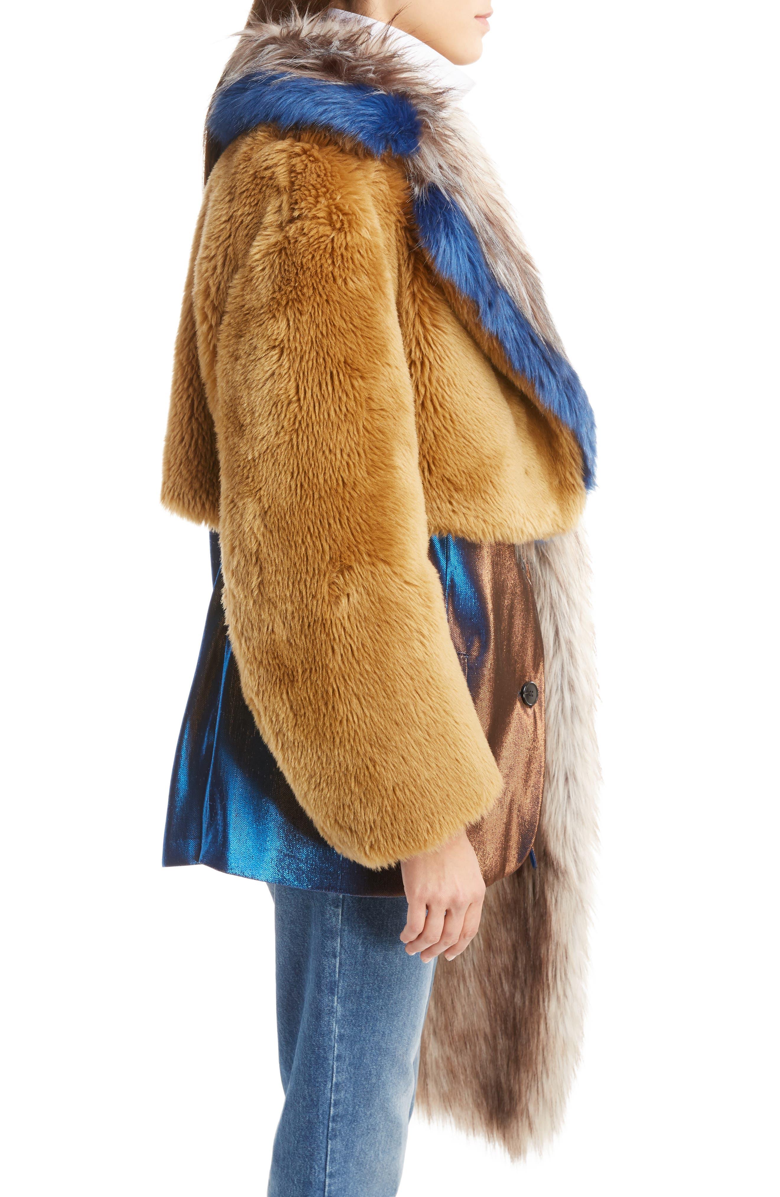Faux Fur Asymmetrical Shrug,                             Alternate thumbnail 5, color,                             Camel