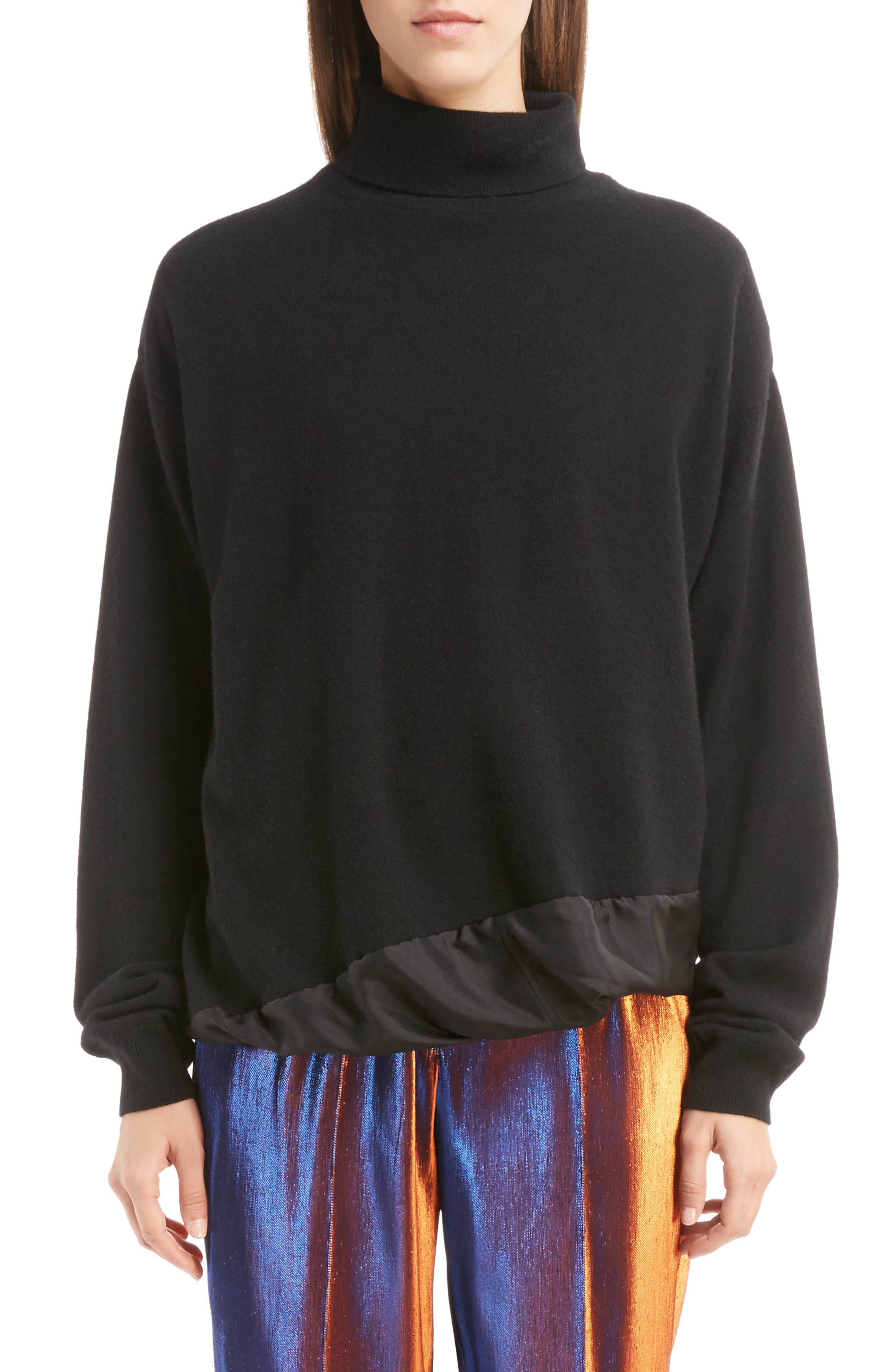 Silk Hem Cashmere Turtleneck Sweater,                         Main,                         color, Black