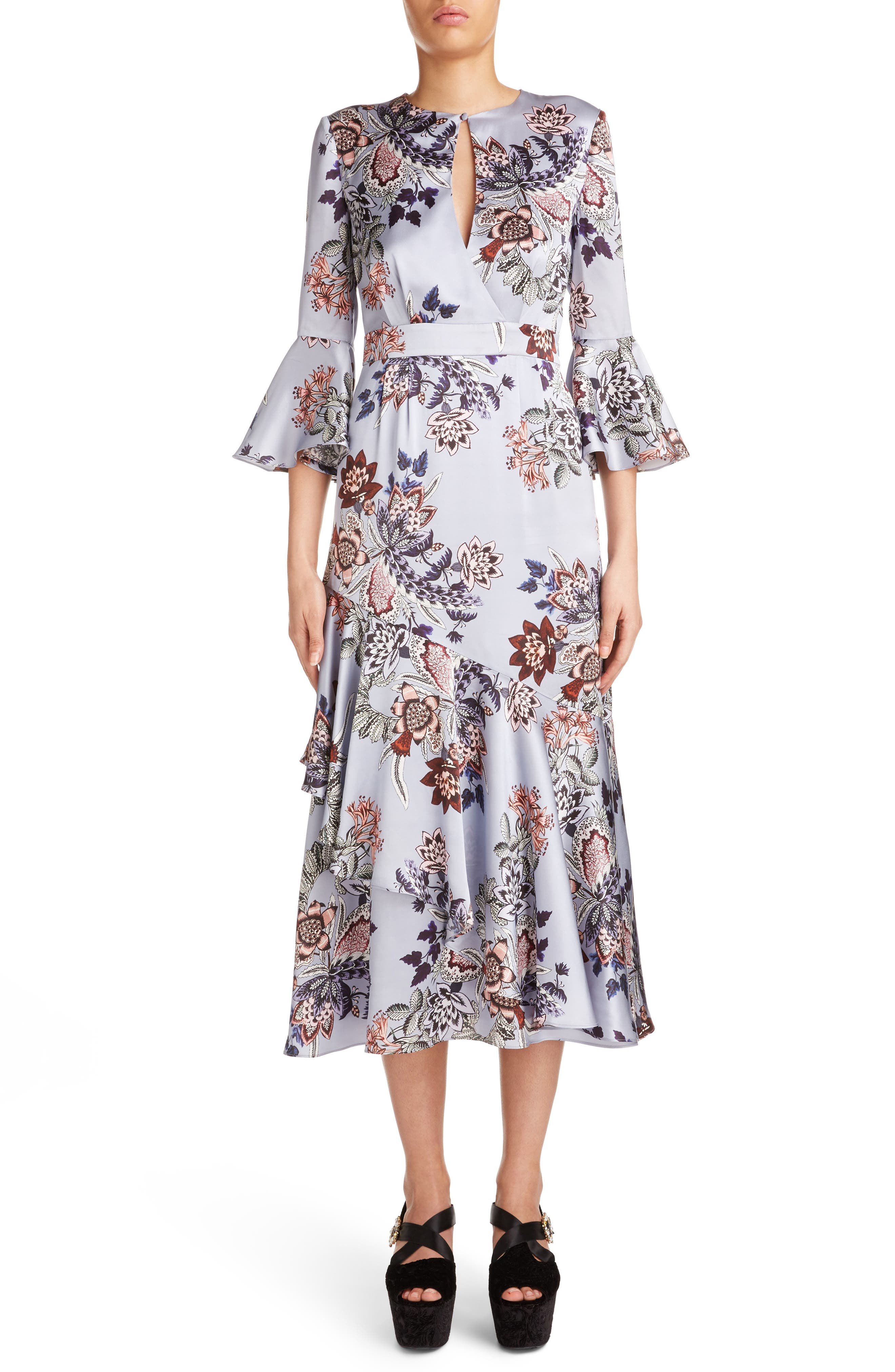 Erdem Floral Print Silk Satin Dress